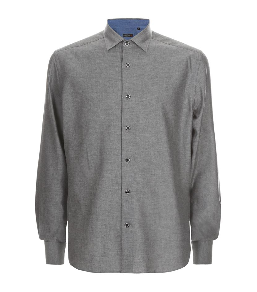 lyst corneliani brushed cotton twill shirt in gray for men