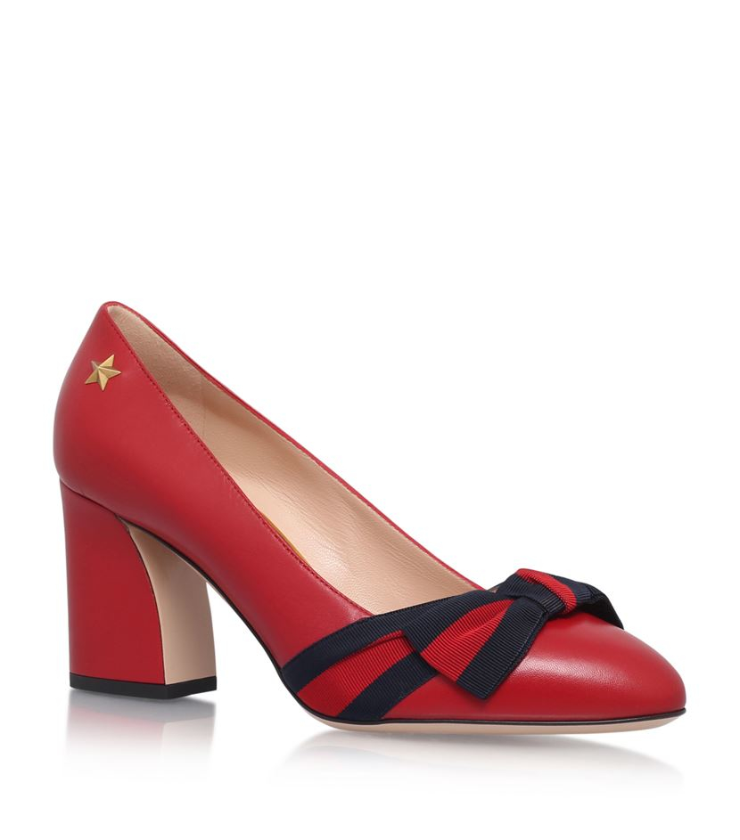 1226fdbbf81 Gucci Aline Bow Pumps in Red - Lyst