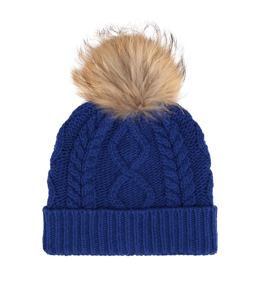 Cable Knit Bobble Hat Pattern : Weekend by maxmara Stemma Cable Knit Fur Bobble Hat in Blue Lyst