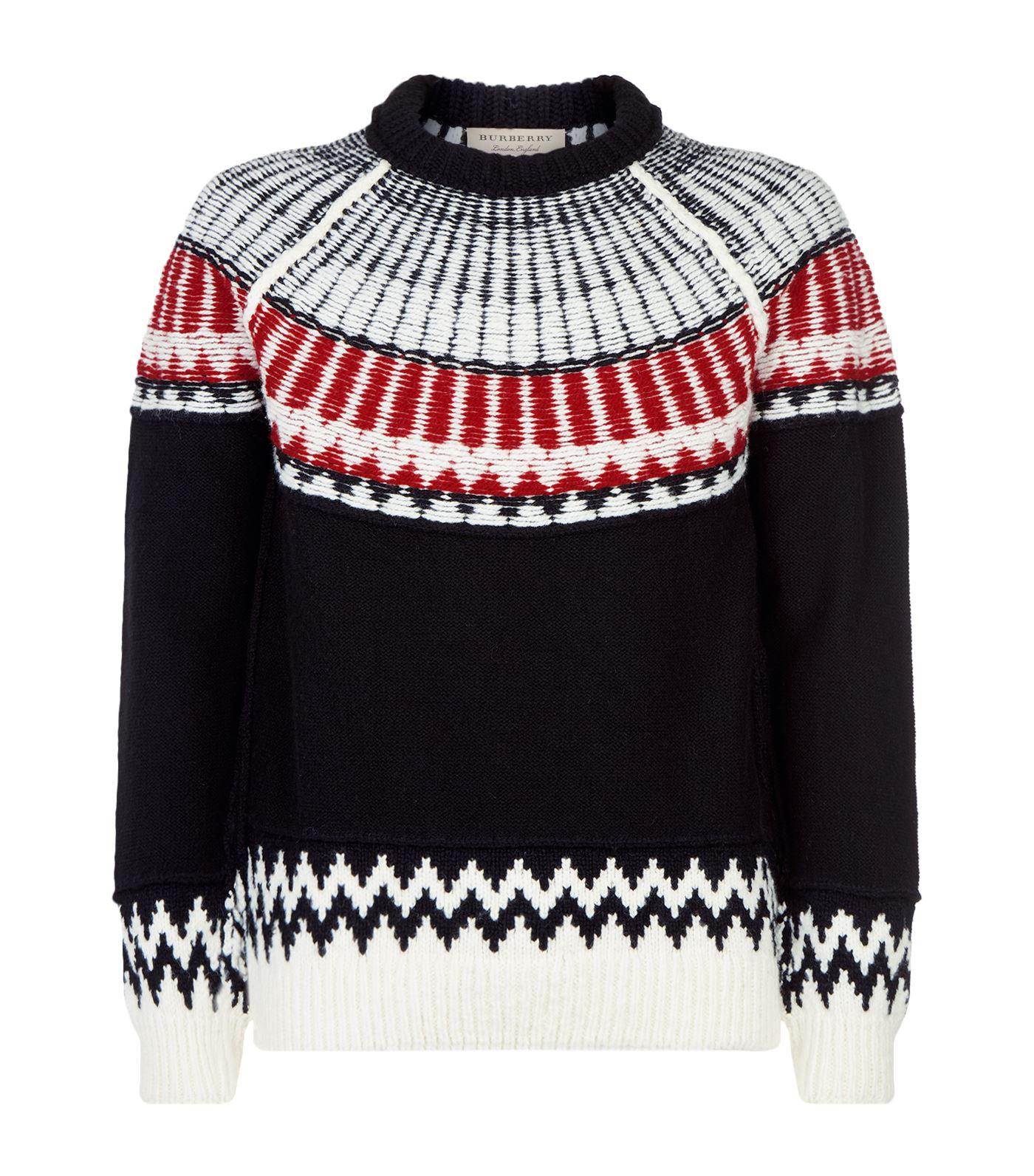 Burberry Fair Isle Sweater in Black | Lyst
