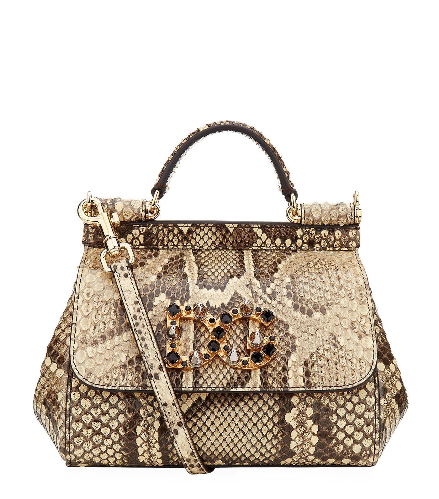 Lyst - Dolce   Gabbana Mini Sicily Embellished Python Shoulder Bag 7b9dda82dd