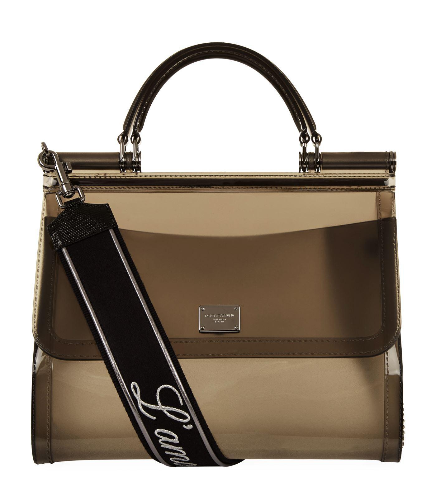 ccc4a9877cbe Lyst - Dolce   Gabbana Semi-transparent Rubber Sicily Bag in Black