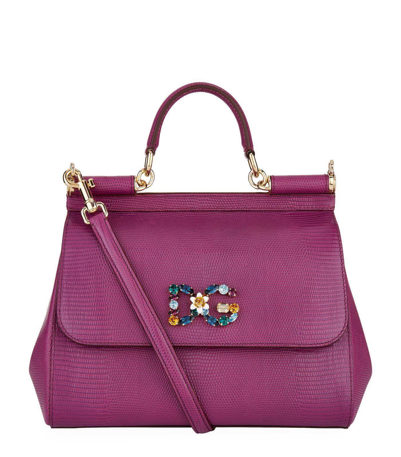 Dolce   Gabbana Medium Iguana Print Sicily Bag in Purple - Lyst 78ed9b8705a