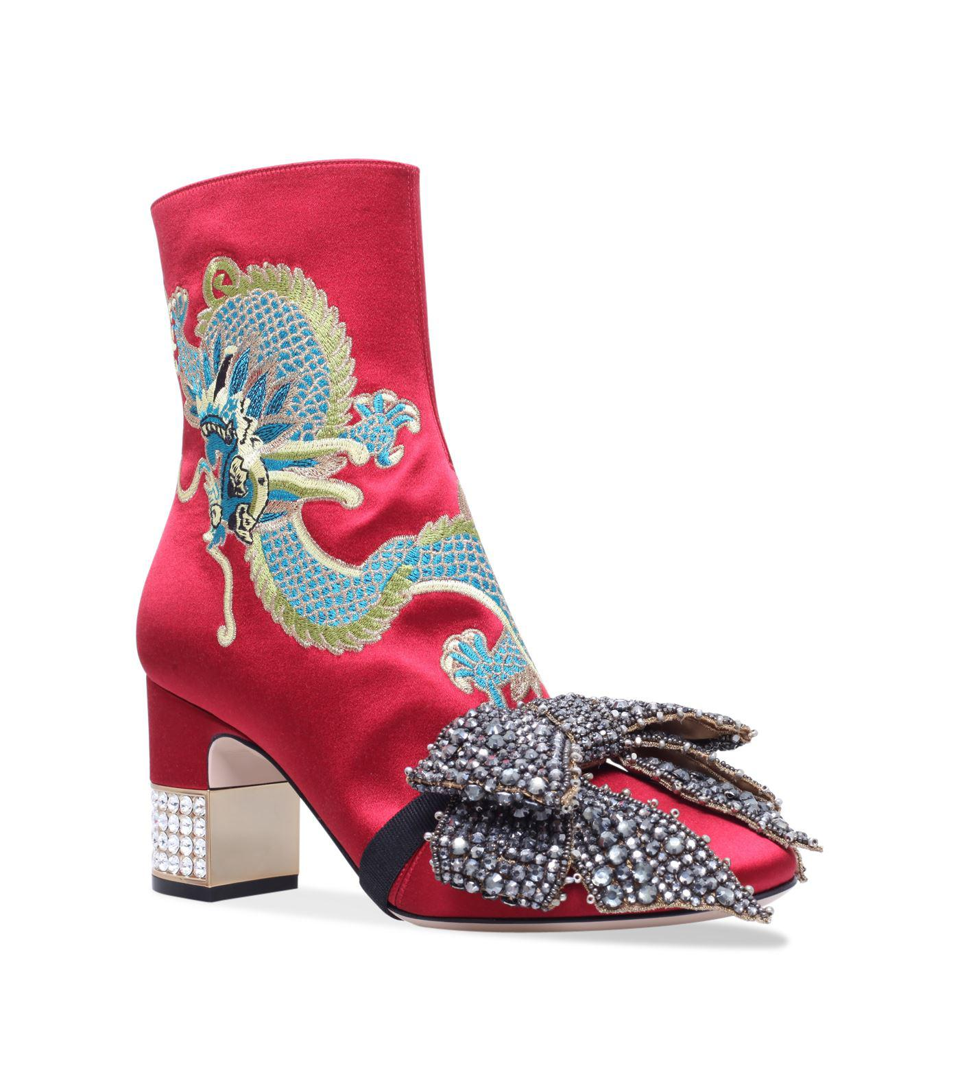71a00c7f629 Lyst - Gucci Candy Dragon Embroidered Ankle Boots 75 in Red