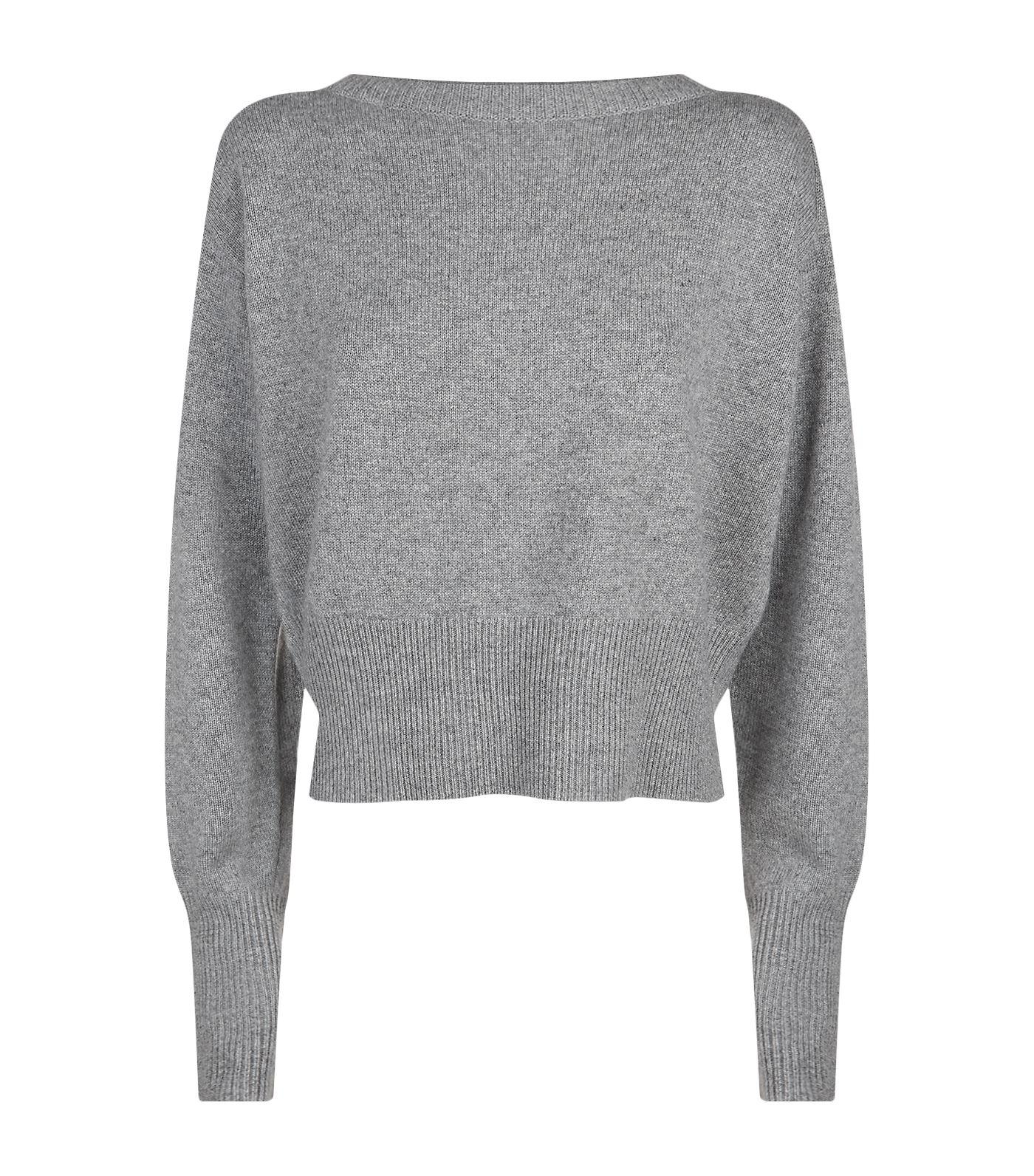 Theory Cropped Cashmere Sweater in Gray | Lyst