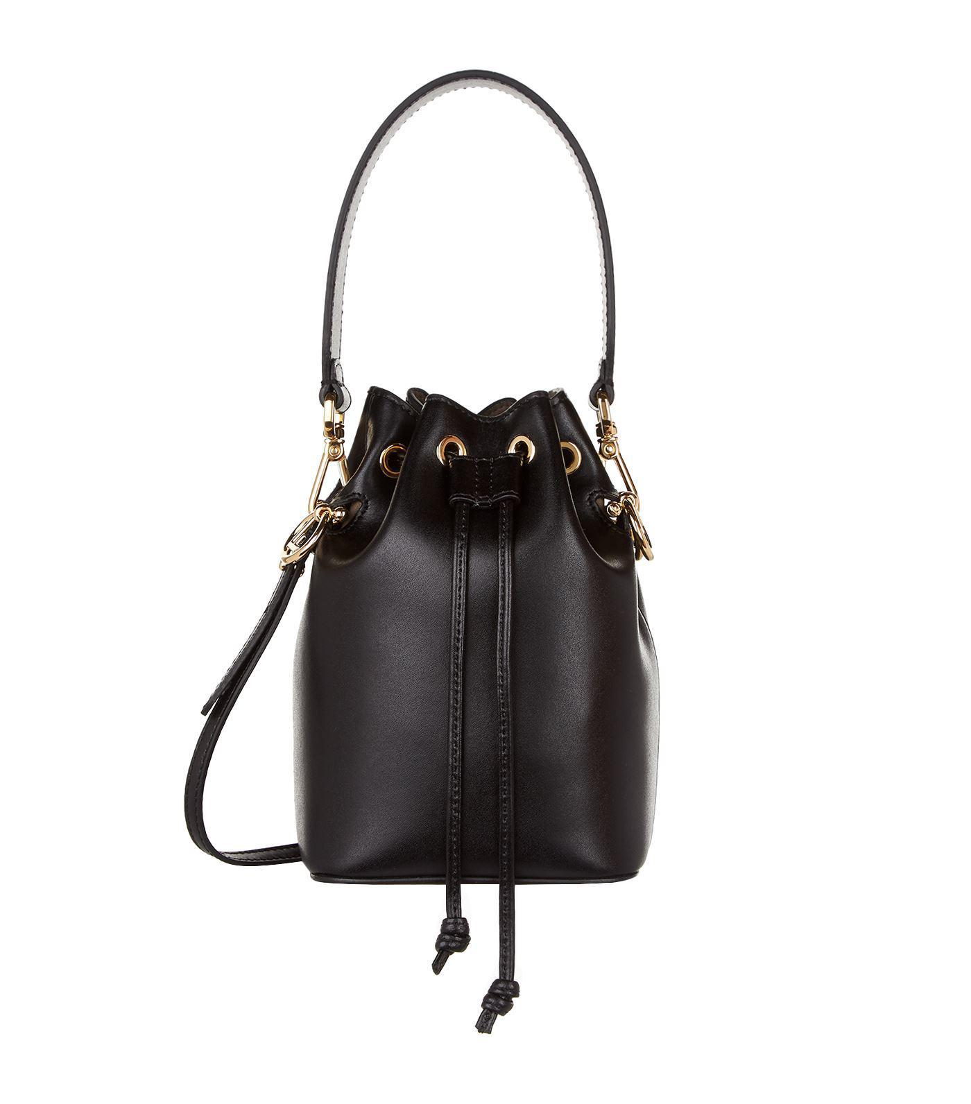 e54c680952d9 Lyst - Fendi Mini Mon Tresor Leather Bucket Bag in Black - Save 9%