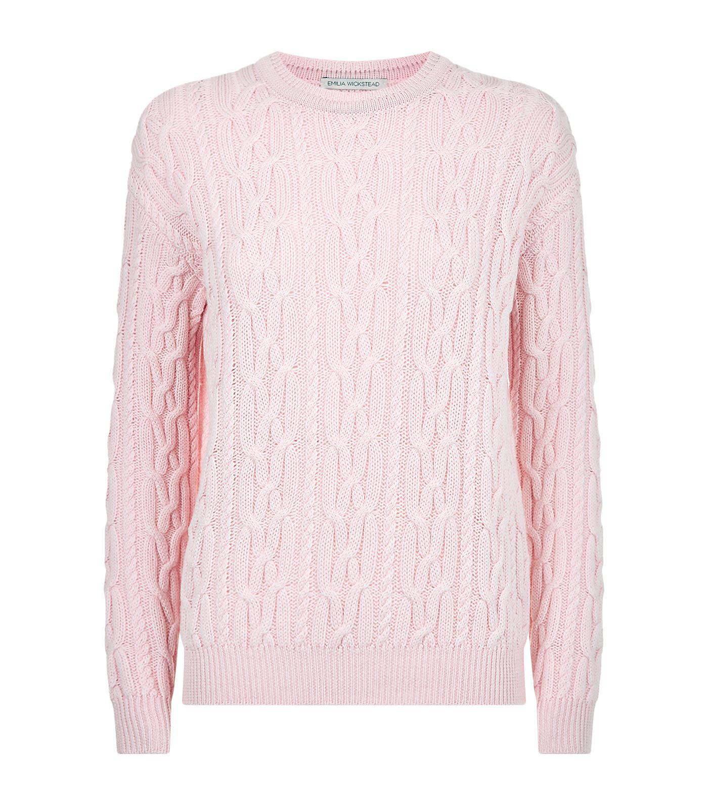 Emilia wickstead Olive Cable Knit Sweater in Pink | Lyst