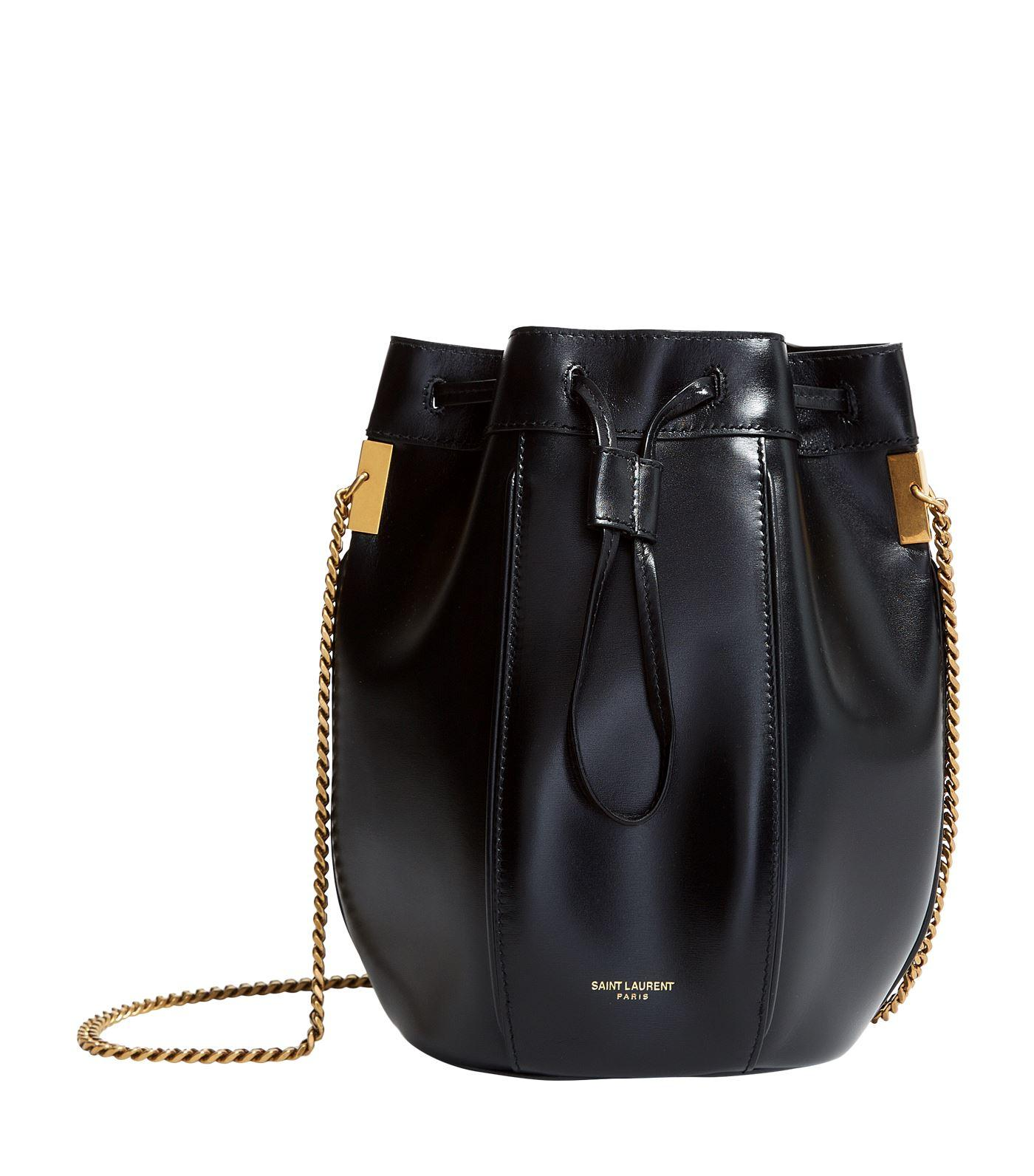 aa7d35ea8c56 Lyst - Saint Laurent Small Leather Talitha Bucket Bag in Black