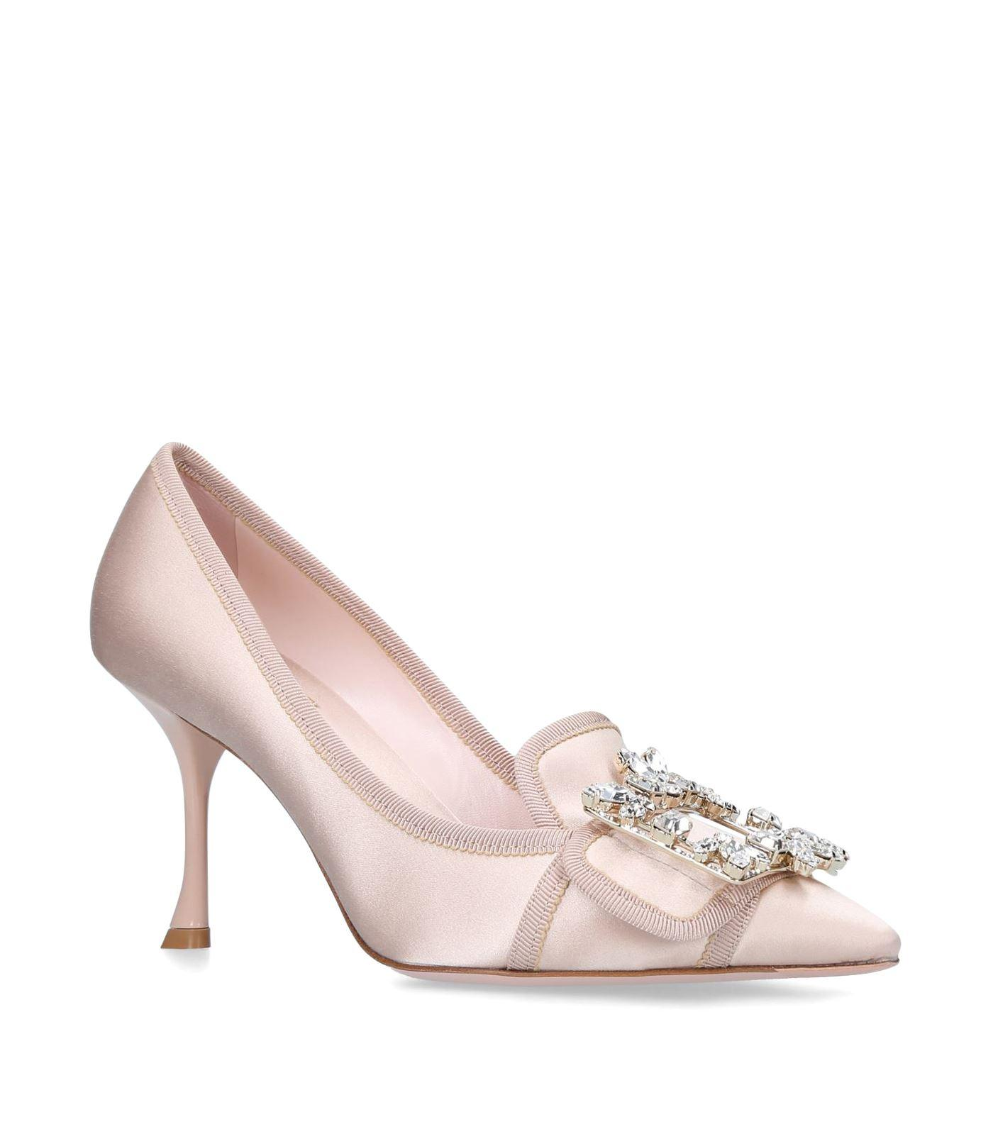 1b6964d09fa4 Roger Vivier. Women s Pink Satin Flower Buckle Court Shoes 85