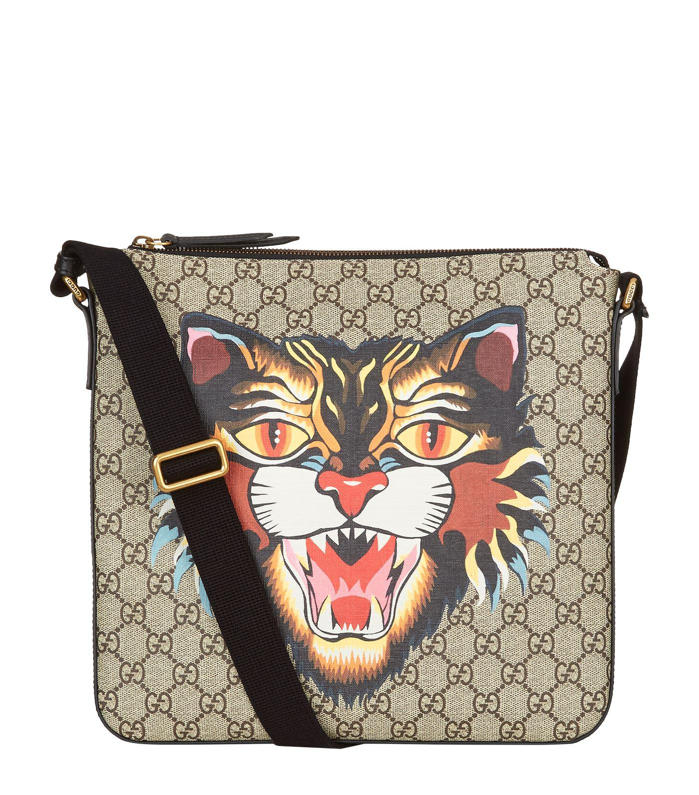 0f8439059135 Gucci Angry Cat Supreme Messenger Bag in Natural for Men - Lyst