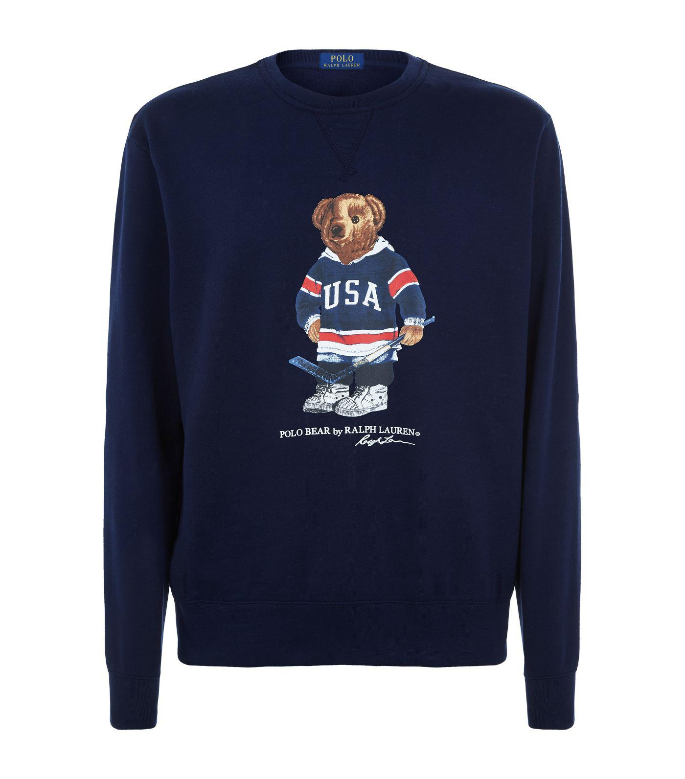 bdbcddd7 Polo Ralph Lauren Hockey Polo Bear Printed Sweatshirt in Blue for ...