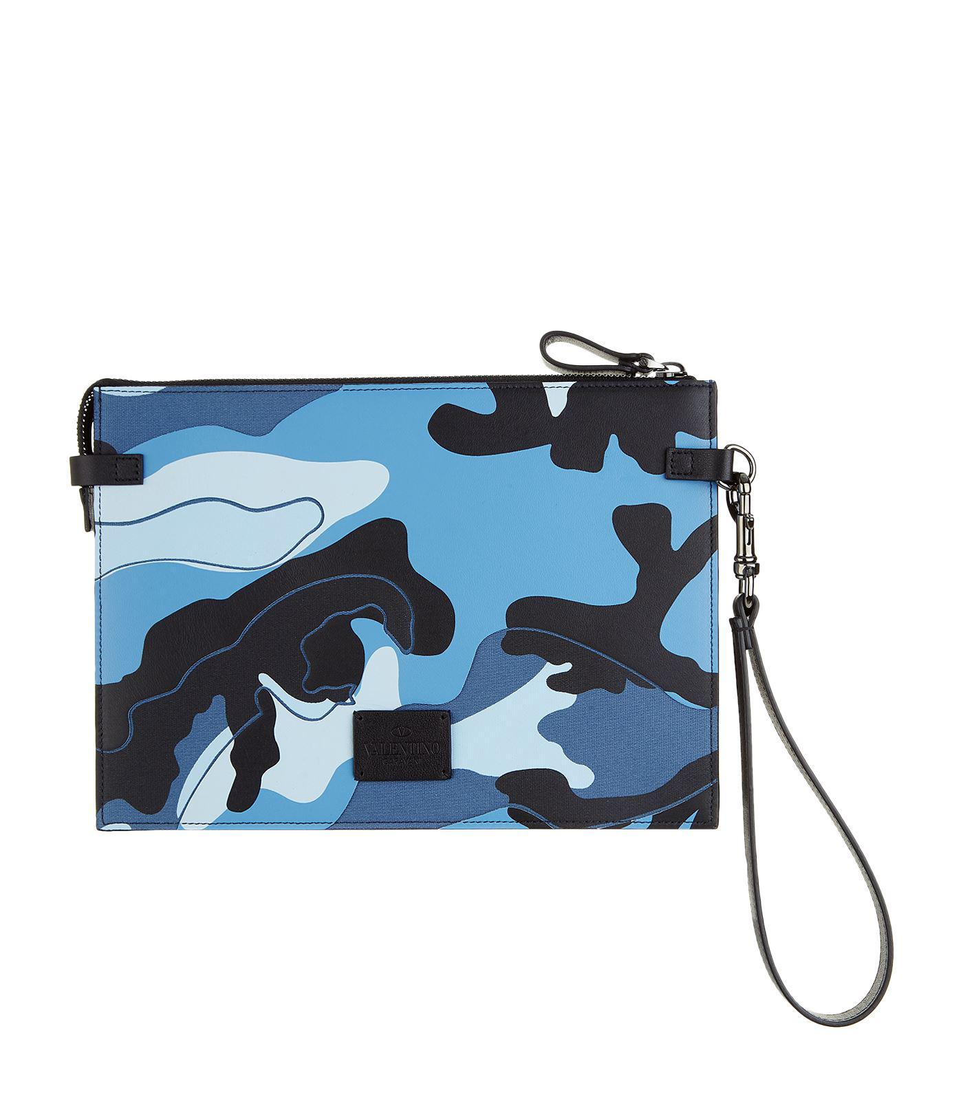 22a98109bb3 Lyst - Valentino Camouflage Leather Pouch in Blue