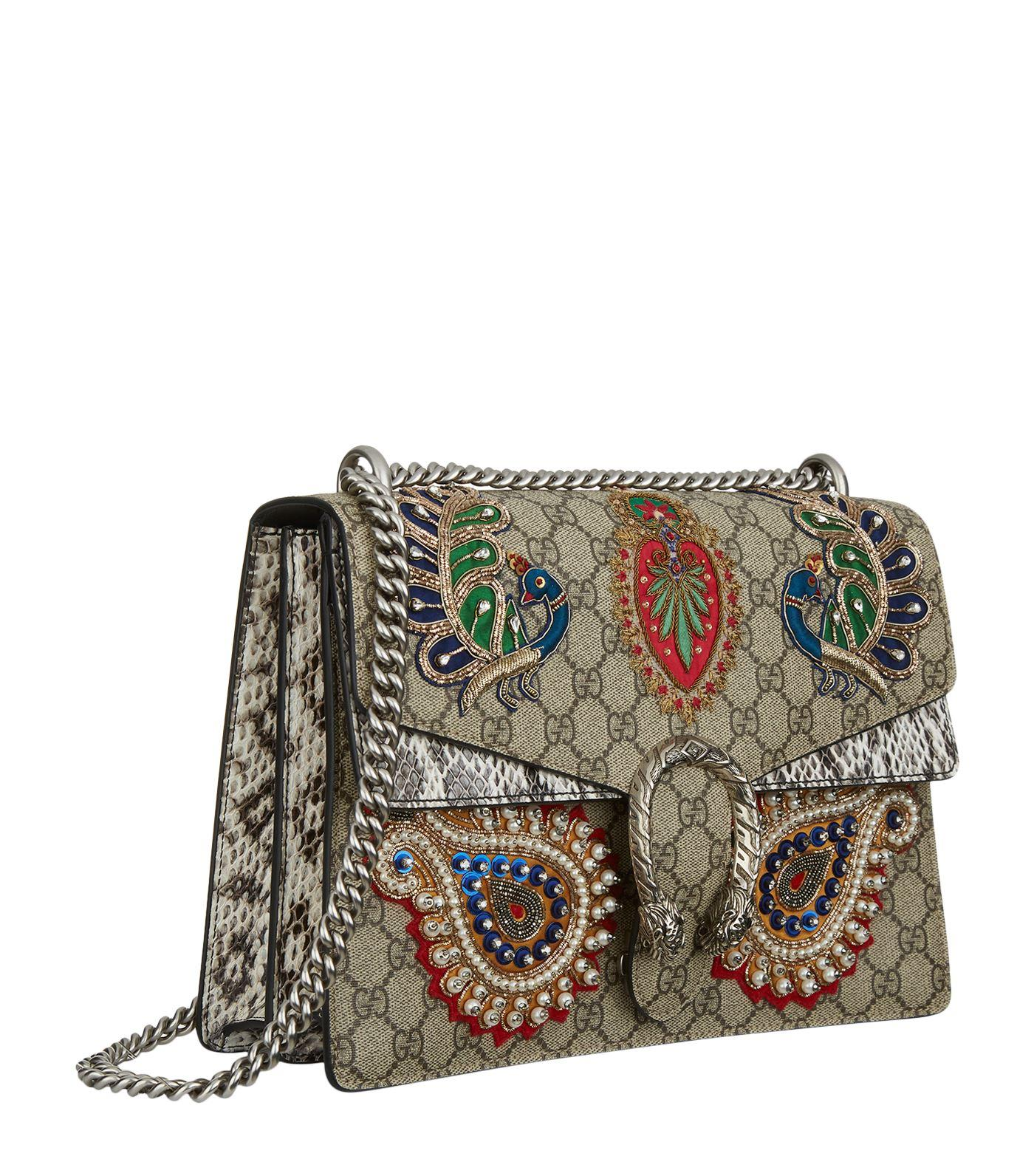 Gucci large dionysus peacock embroidered shoulder bag in