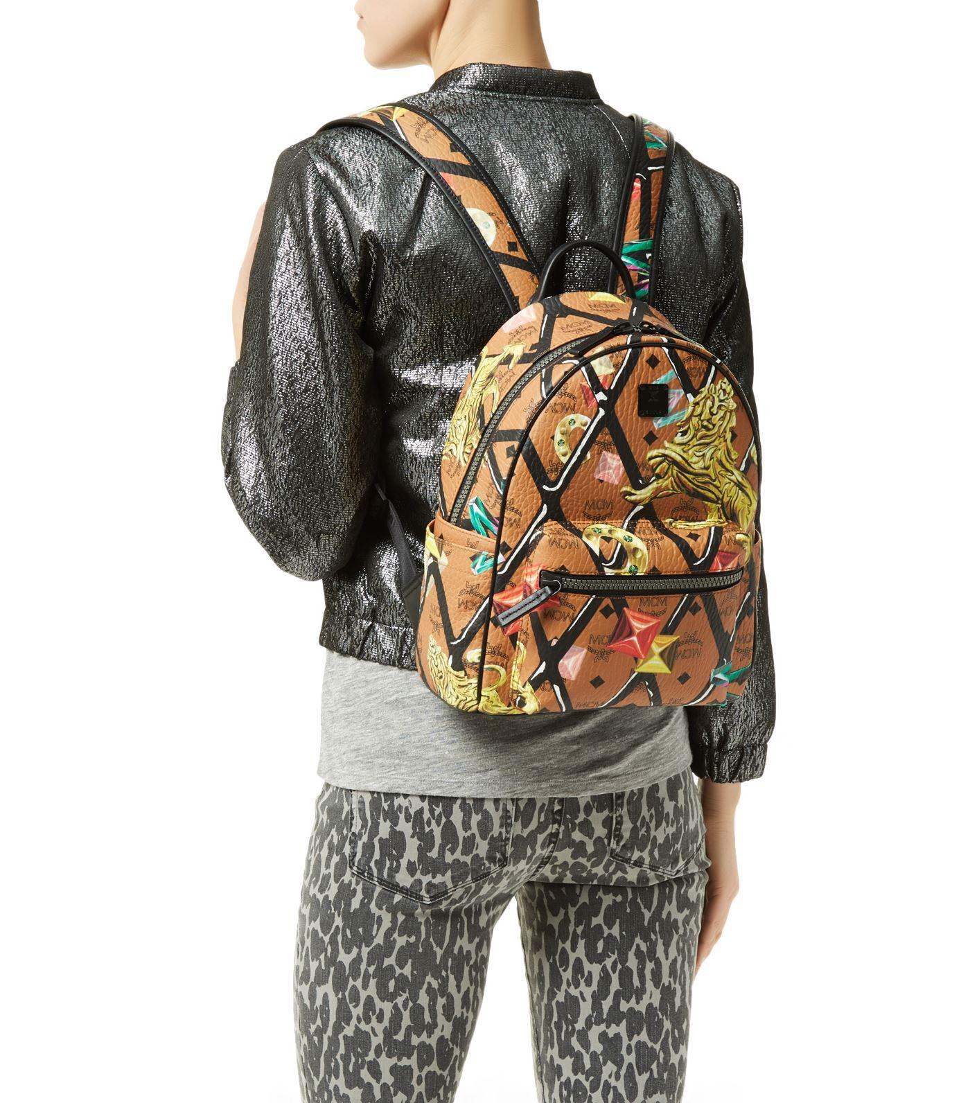Mcm Small Stark Motif Rombi Backpack In Brown Lyst