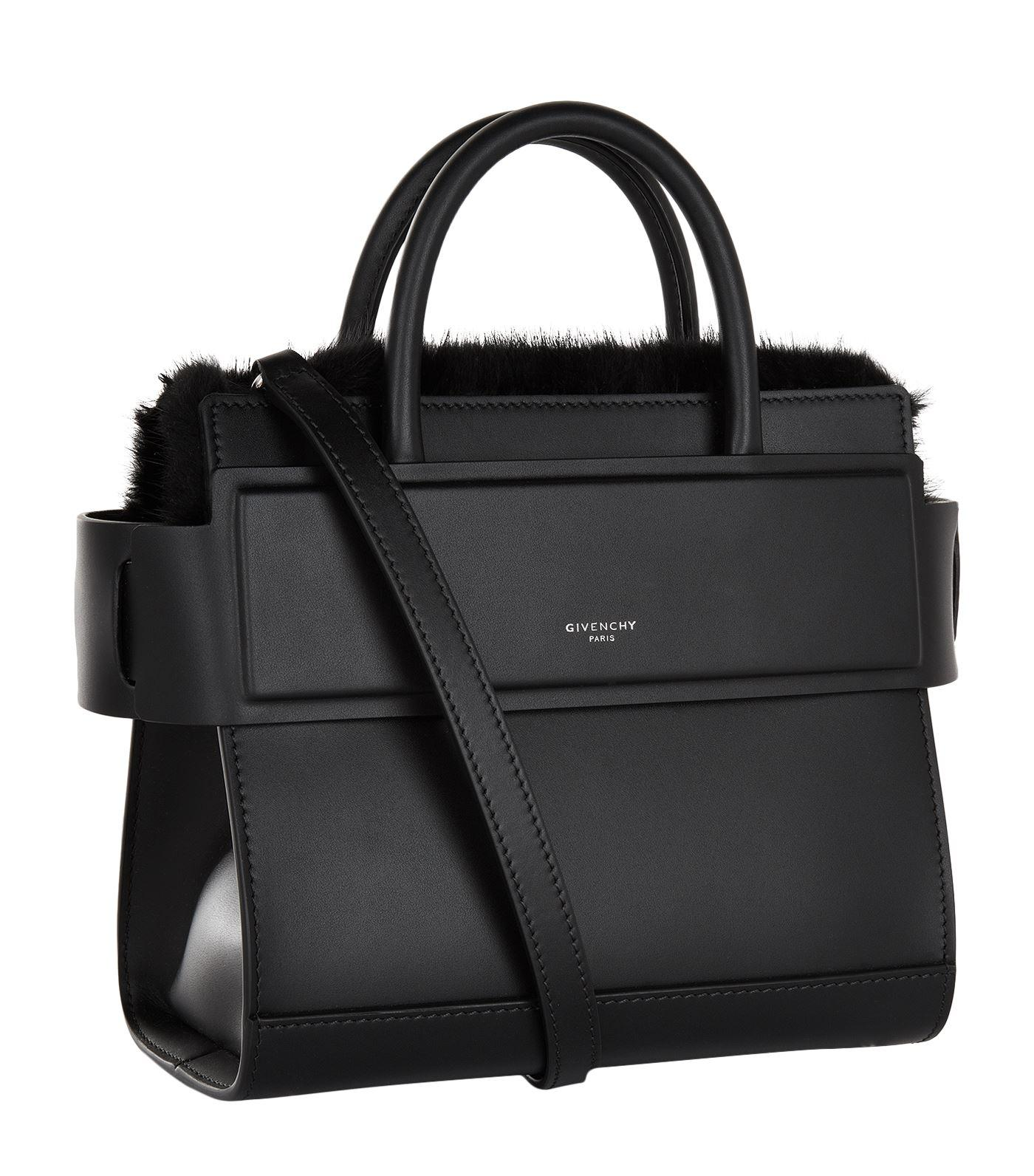 29295650c23 Lyst - Givenchy Mini Horizon Mink Trim Tote Bag in Black