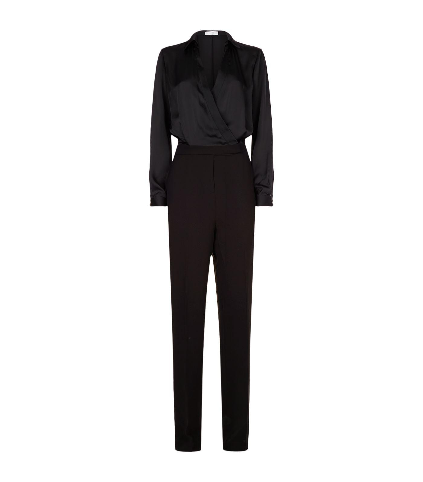 147f0567ff2 Reiss Imie Wrap-front Jumpsuit in Black - Lyst