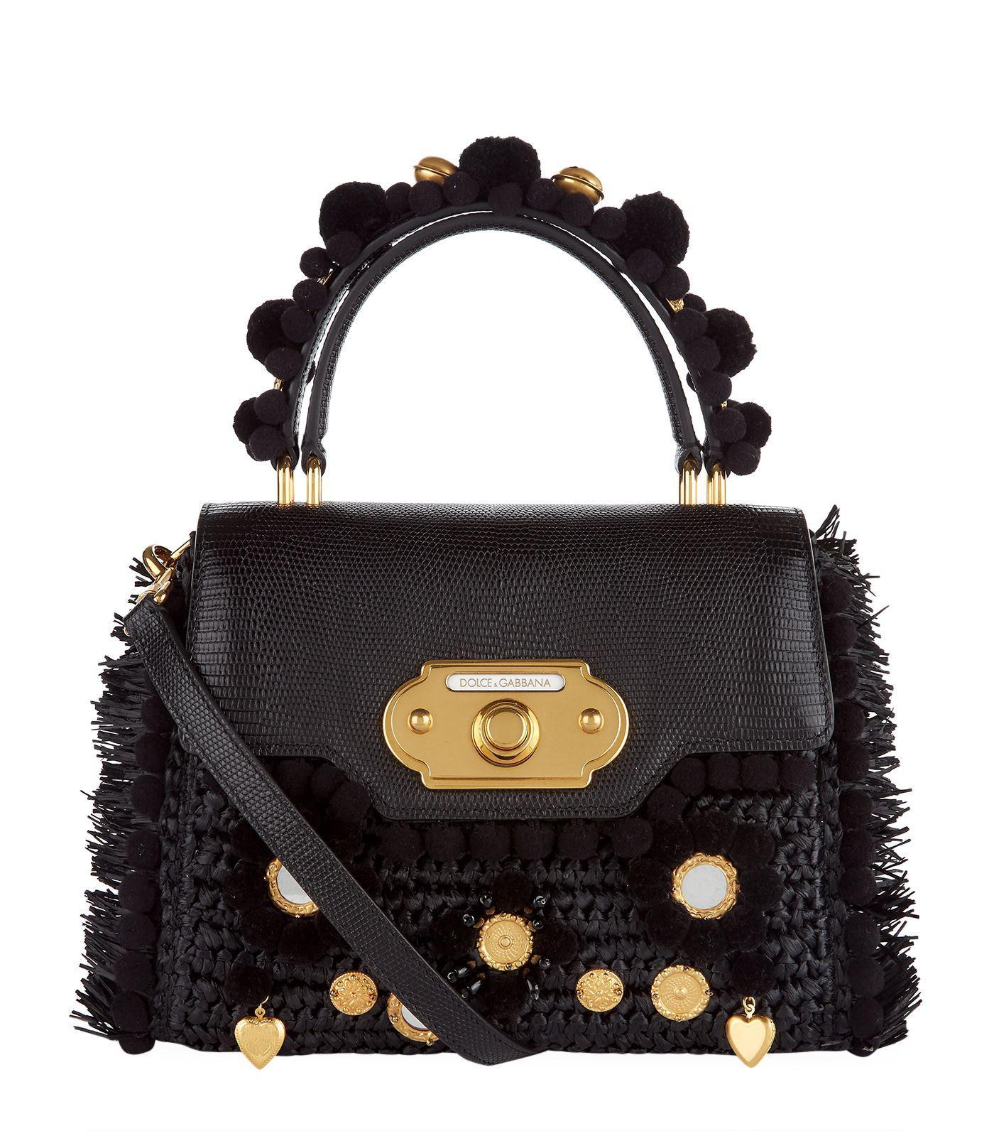 Lyst - Dolce   Gabbana Raffia Top Handle Bag in Black bb6bce2ed8b