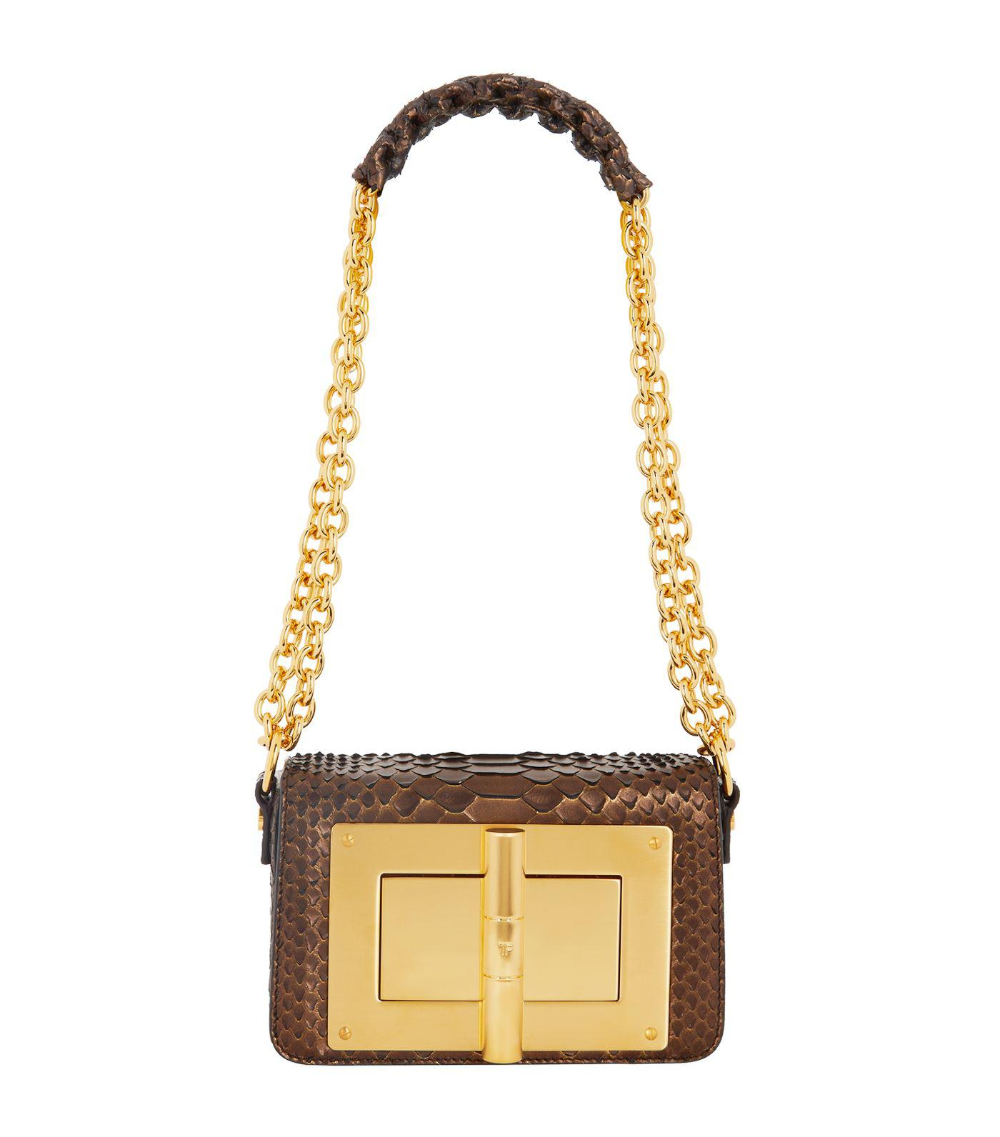 fbda9fe0c347 Tom Ford Medium Python Natalia Shoulder Bag in Metallic - Lyst