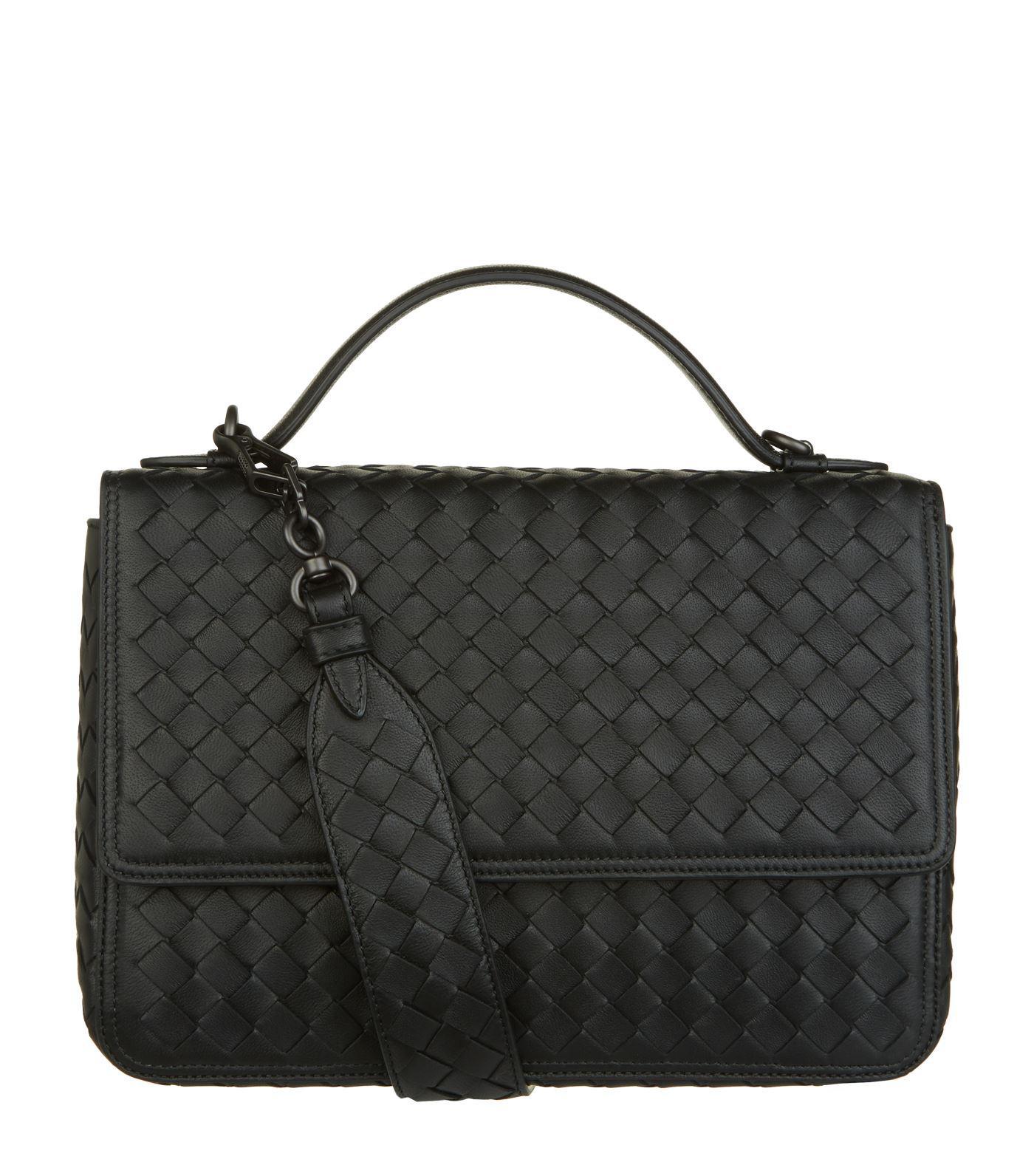 Lyst - Bottega Veneta Leather Alumna Shoulder Bag in Black 4383cf2516