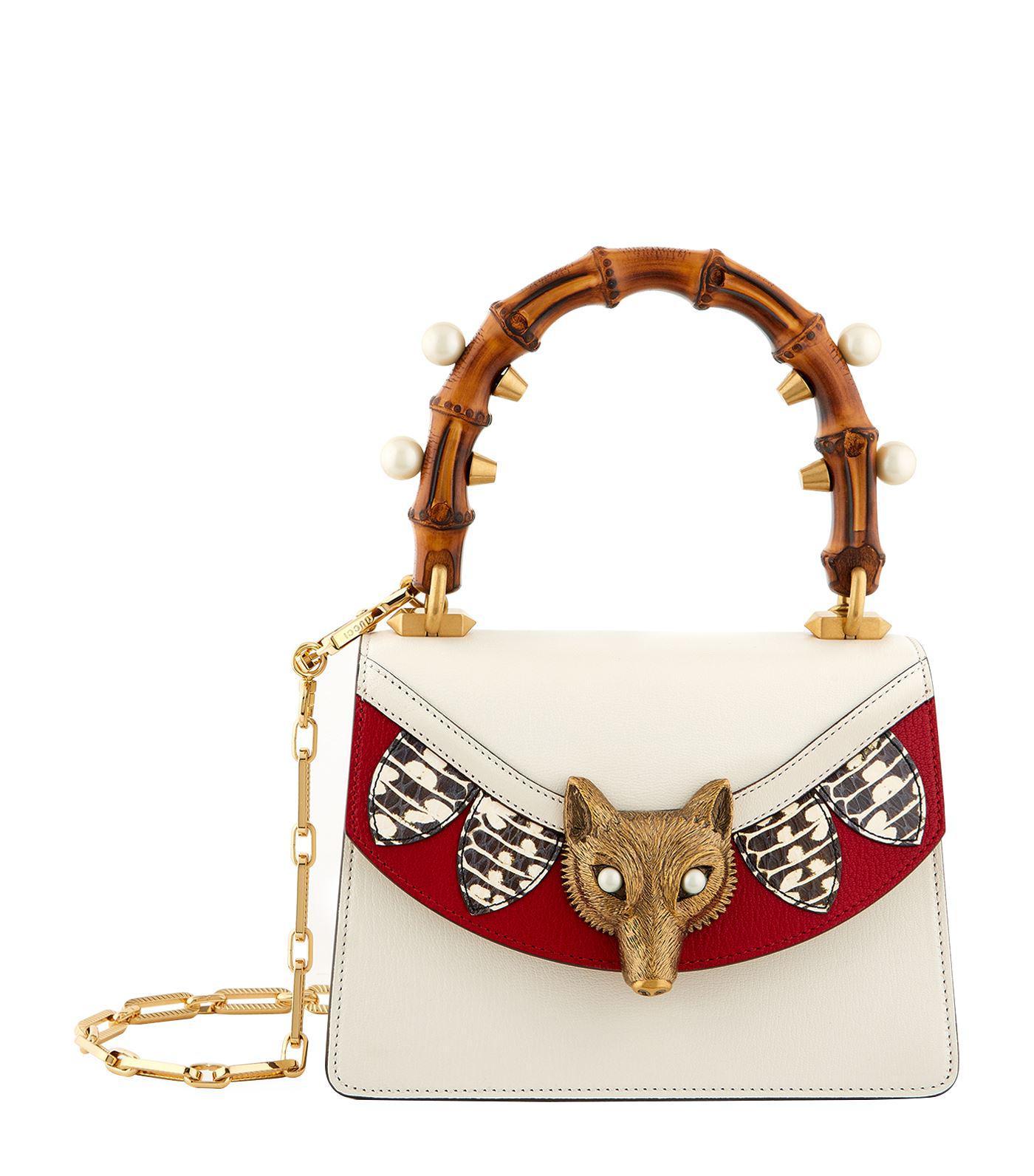 807bab6e021e Gucci Mini Broche Fox Top Handle Bag in White - Lyst