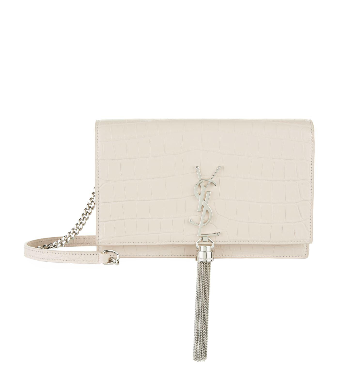 Lyst - Saint Laurent Mini Croc-embossed Kate Tassel Shoulder Bag in Pink 8e2bccc7361de
