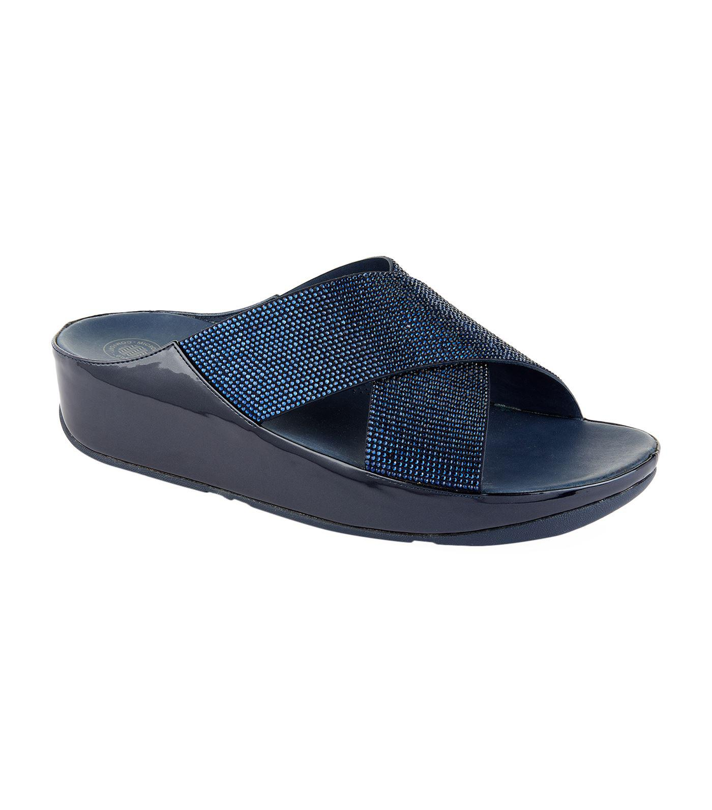 710b33d5277536 Lyst - Fitflop Crystall Slide Sandals in Blue