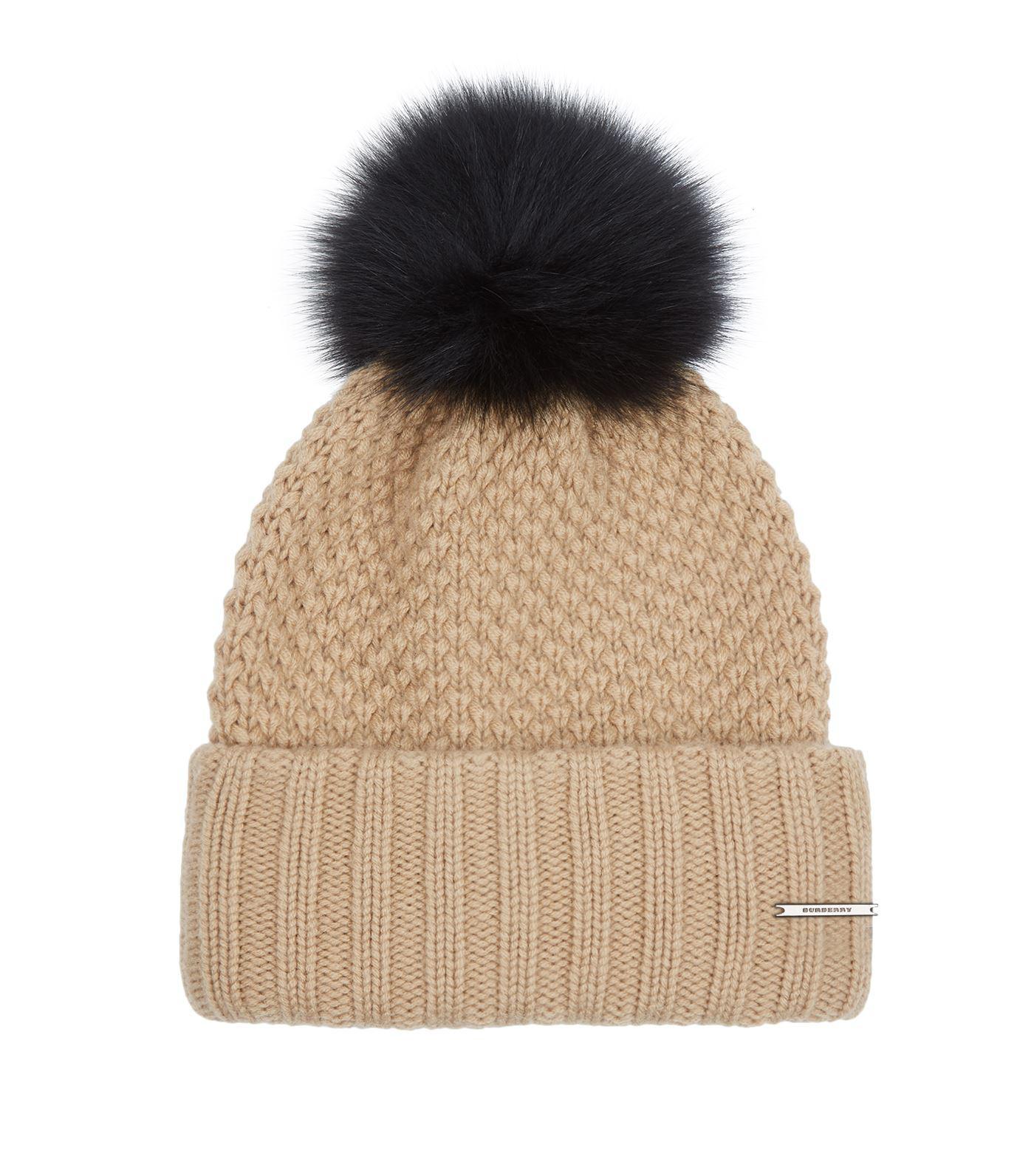 4bd56bf6e16 Lyst - Burberry Fur Pom Pom Wool Cashmere Beanie Hat in Brown