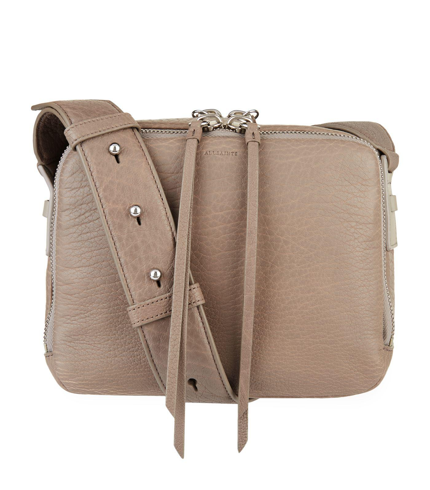 a706fac51853 AllSaints Leather Vincent Cross Body Bag in Gray - Lyst