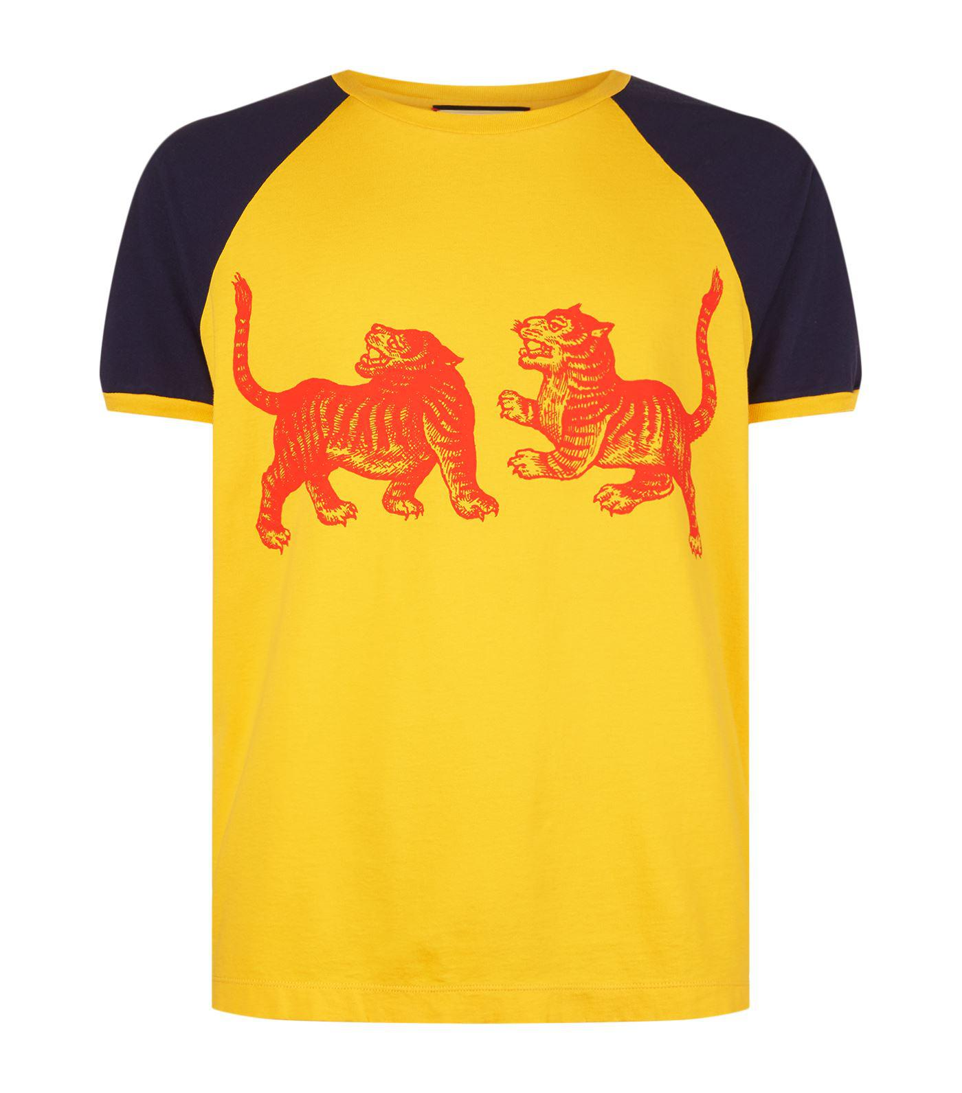 8fe38df7a Gucci Contrast Tiger Print T-shirt in Yellow for Men - Lyst