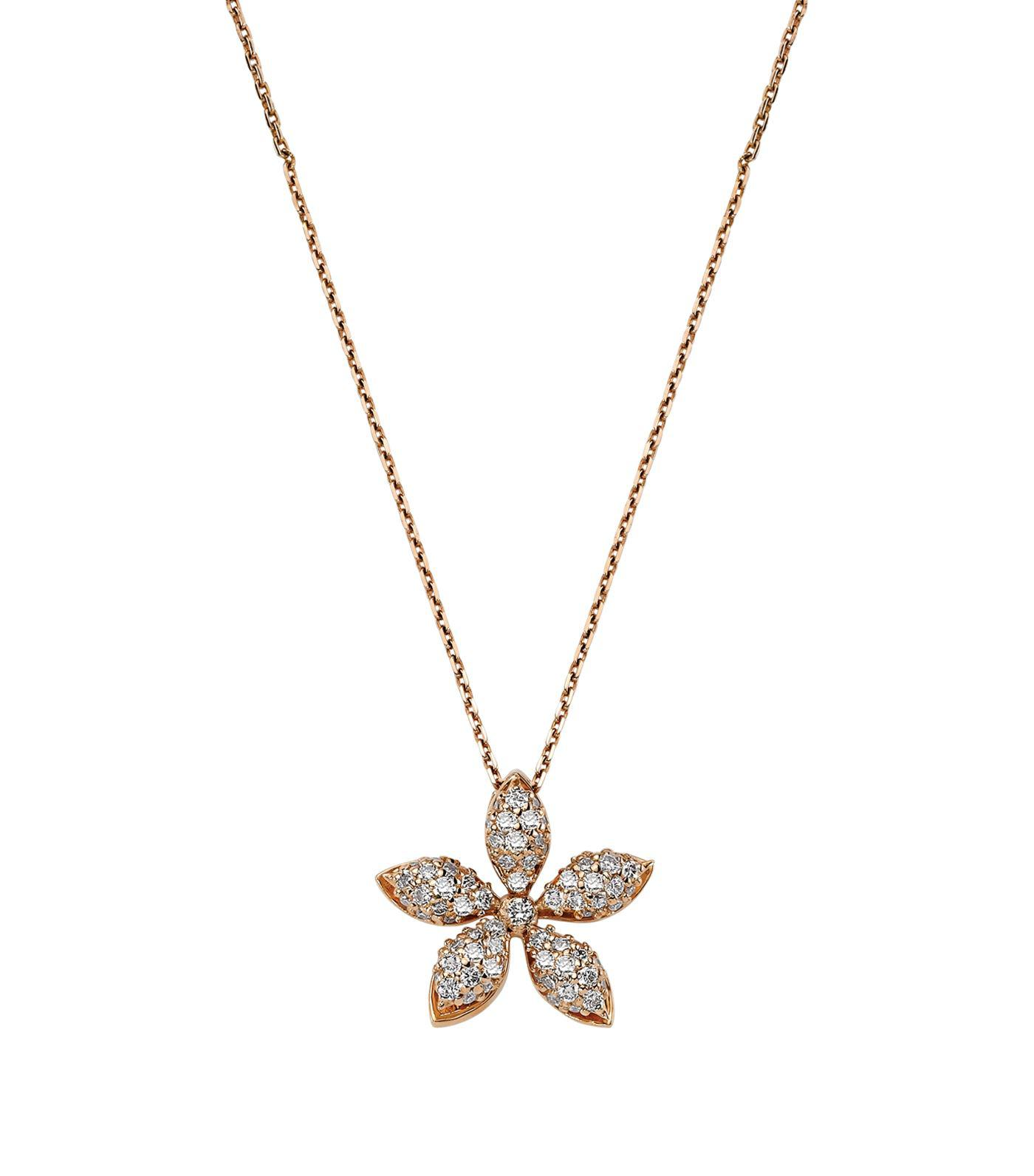 Lyst Bee Goddess Rose Gold And Diamond Apple Seed Necklace In White
