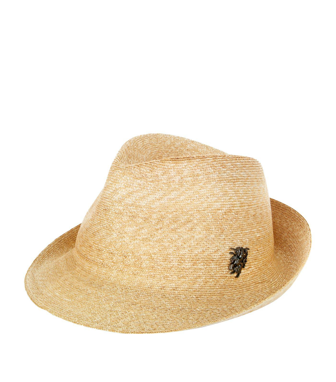 Lyst - Philip Treacy Logo Pin Trilby Hat in Natural for Men ce27e38f5052