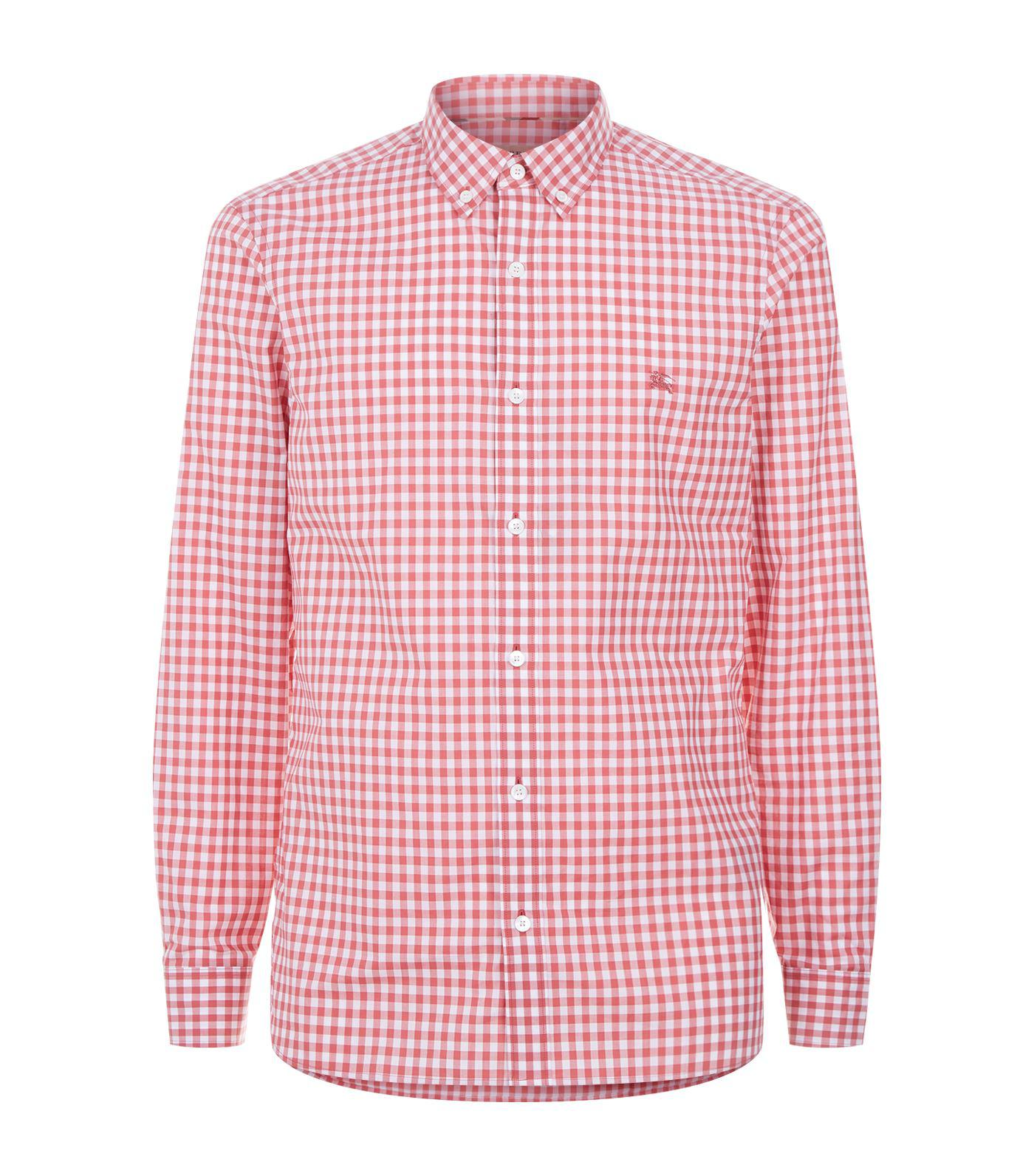 4594ff30 Lyst - Burberry Gingham Button-down Collar Shirt in Pink for Men