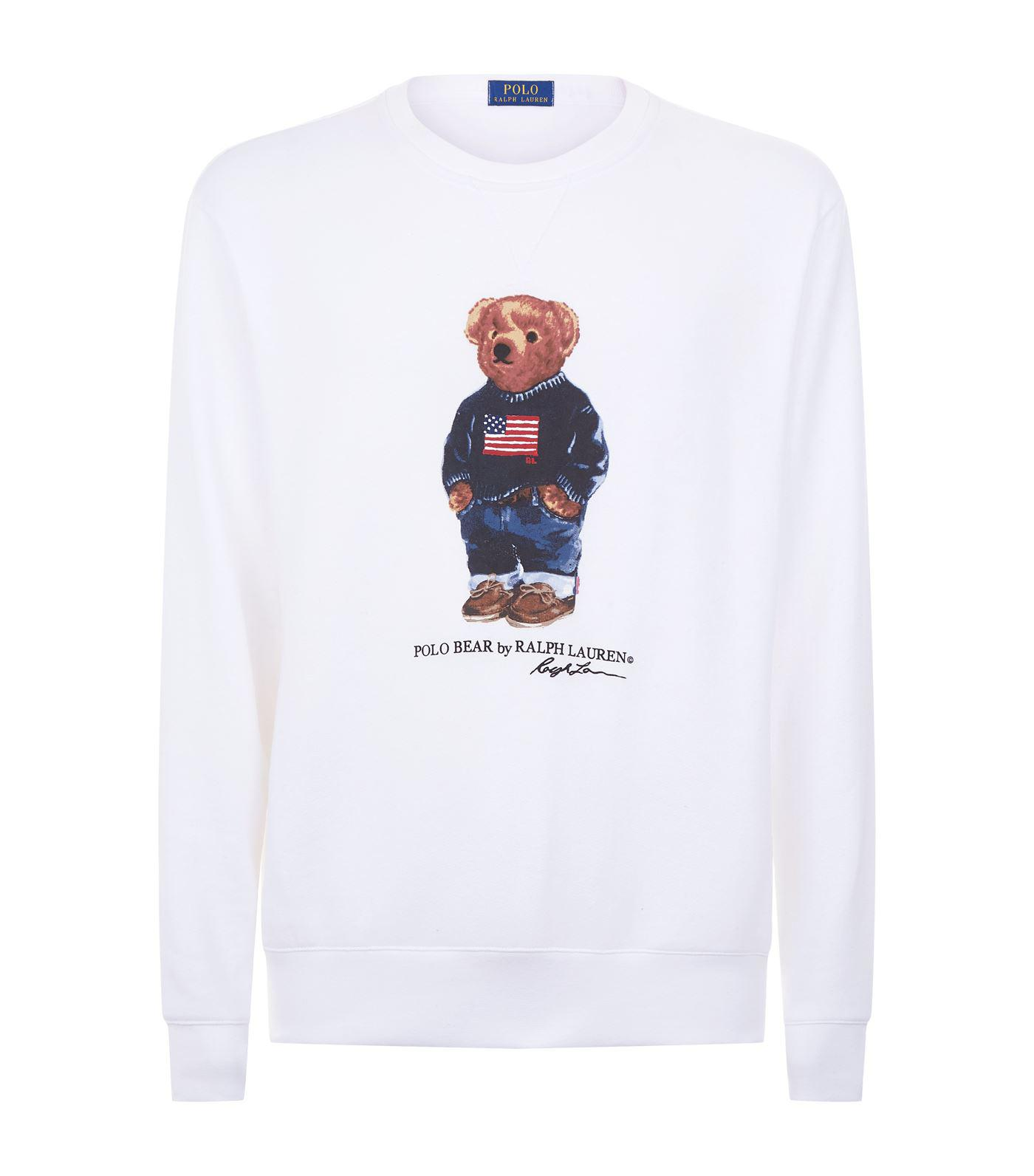 ad430a94 Polo Ralph Lauren Polo Bear Printed Sweatshirt in White for Men - Lyst