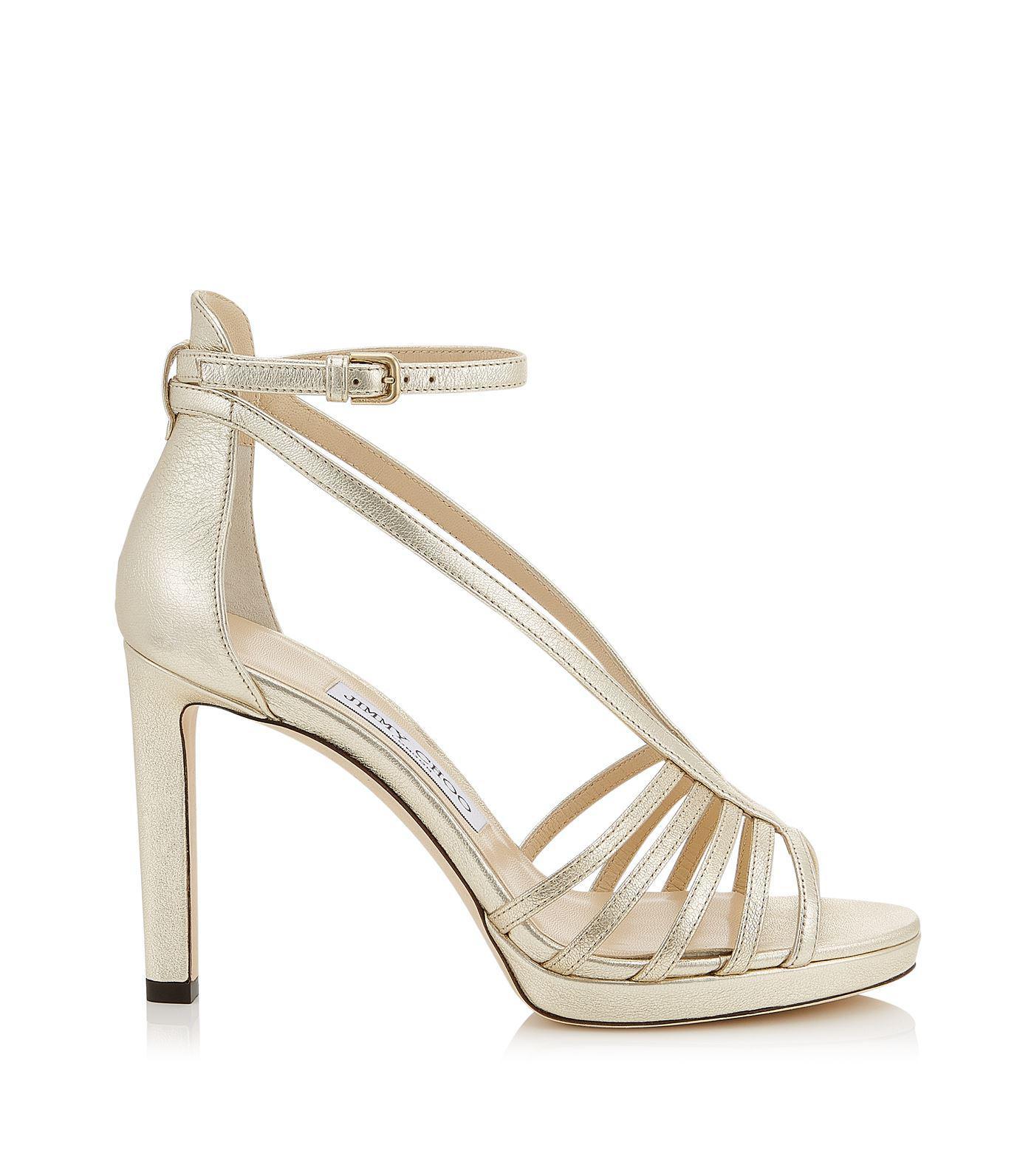 50ca5bb302cf Lyst - Jimmy Choo Leather Federica Sandals 100 in Metallic
