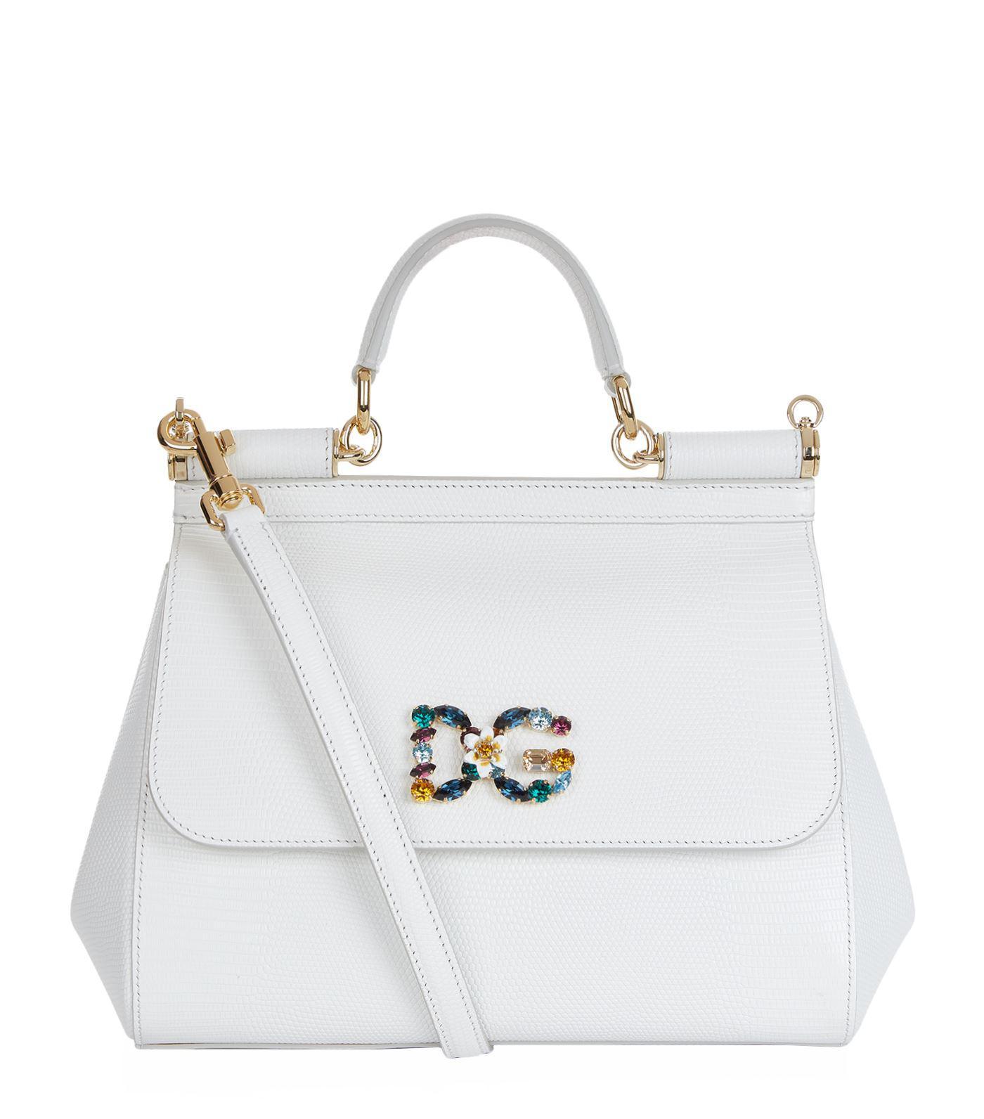 5865f5c5fd Dolce & Gabbana Medium Leather Iguana Print Sicily Bag in White - Lyst