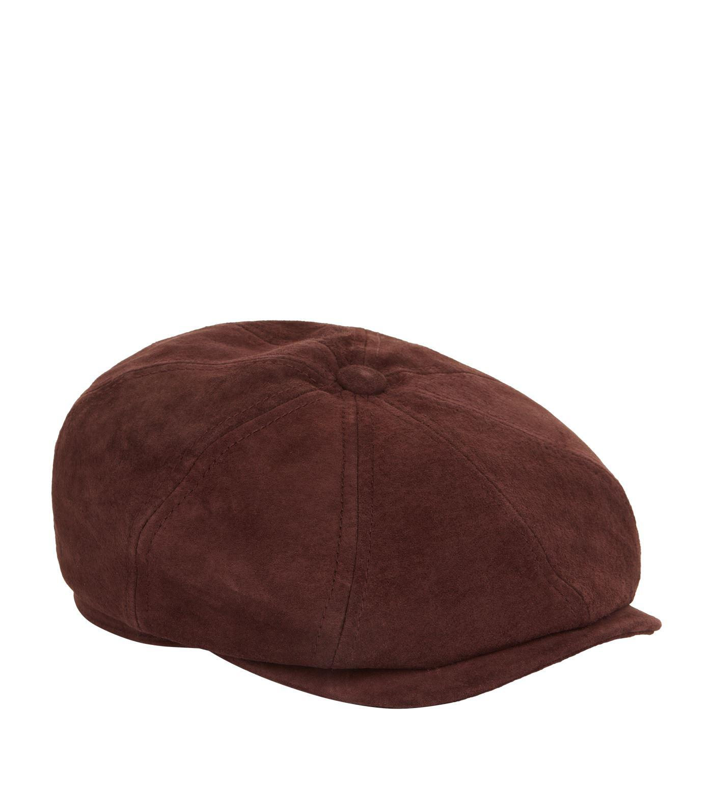 Lyst - Stetson Hatteras Leather Flat Cap in Brown for Men 0009651088c