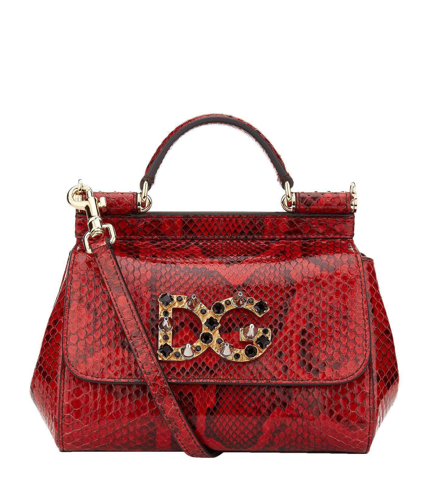 b84b8d6cae21 Lyst - Dolce   Gabbana Mini Sicily Embellished Python Shoulder Bag ...
