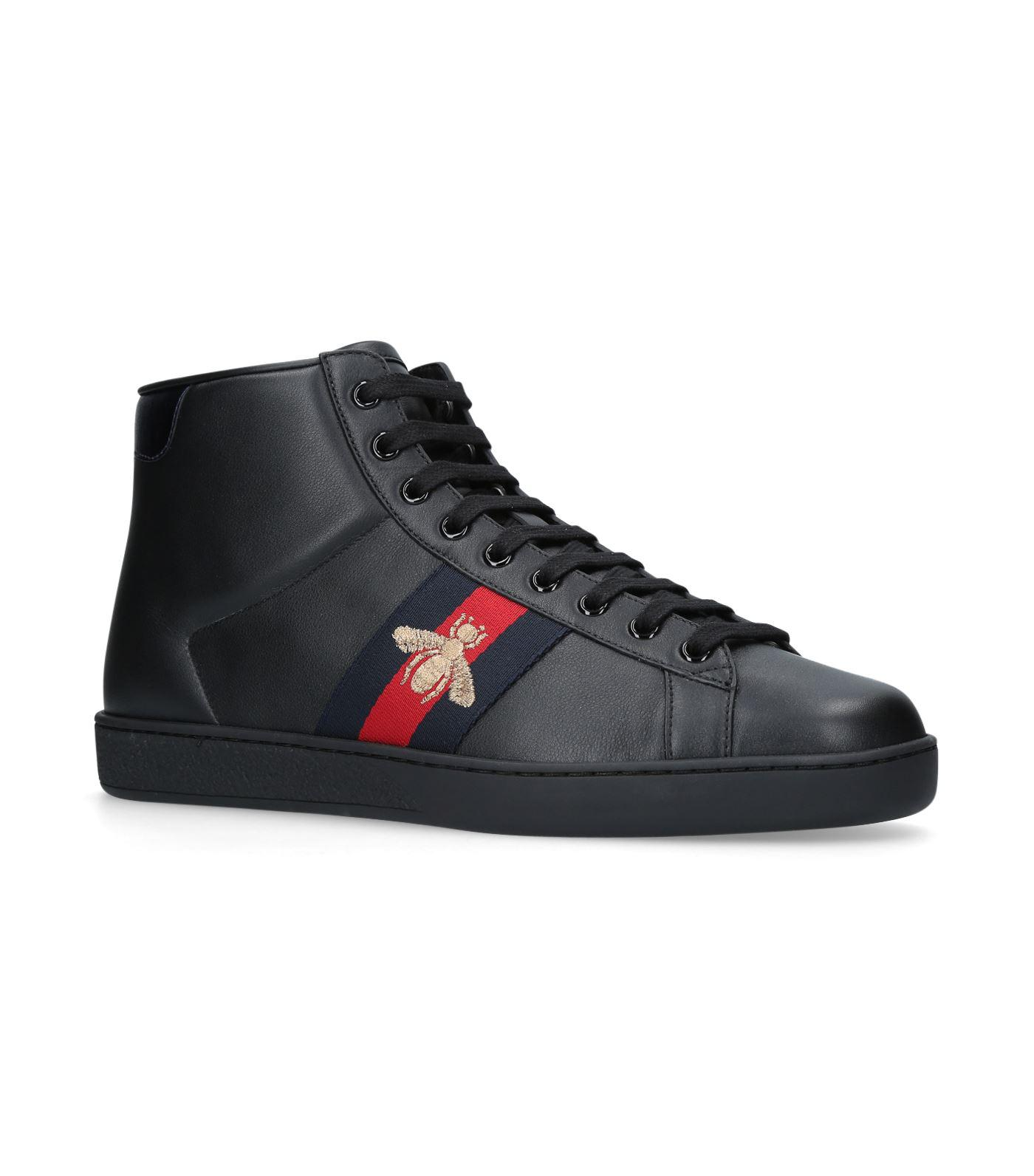 81e20281b Gucci New Ace Bee Embroidered High Top Sneakers in Black for Men - Lyst
