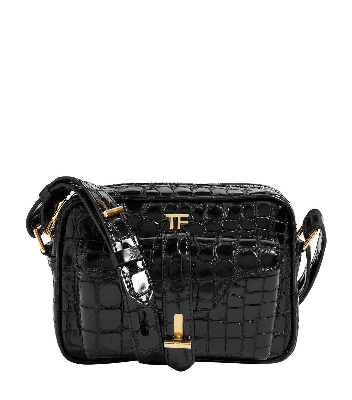 f92567a091 Lyst tom ford croc embossed twist bag in black jpg 1400x1592 Tom ford  jennifer handbag crocodile