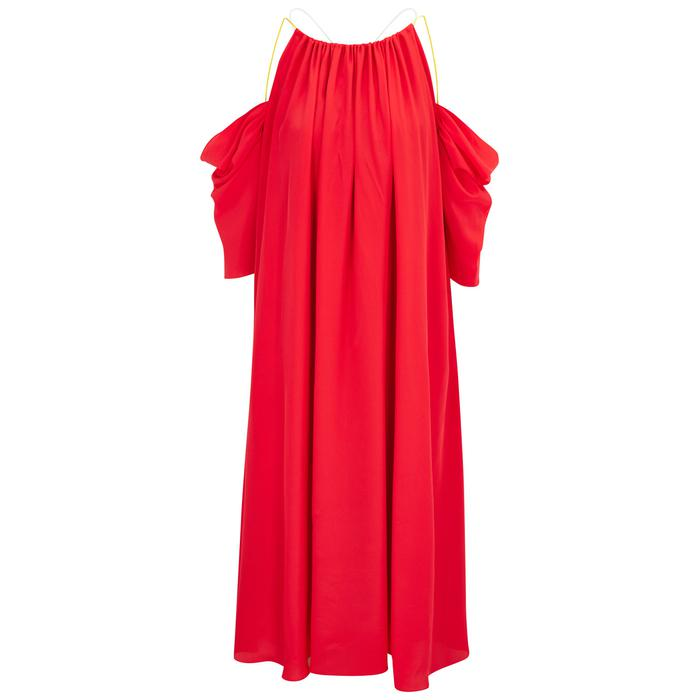 Open-shoulder silk-blend midi dress ANNA OCTOBER FcySaw4