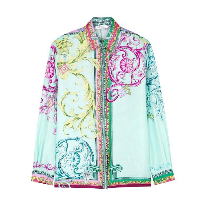 eb171c26 Versace Blue Baroque-print Silk Shirt in Blue - Lyst