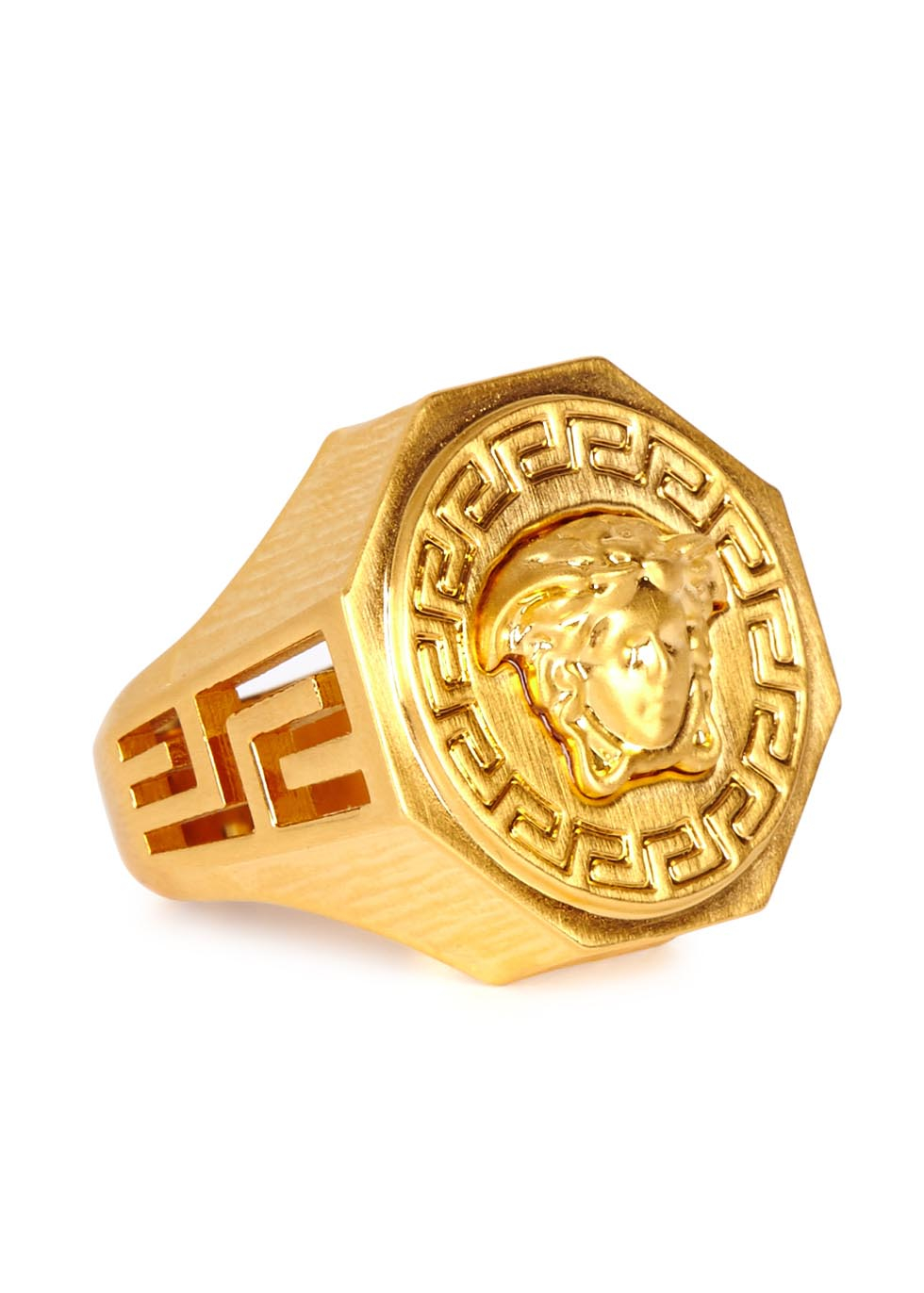 Lyst Versace Gold Tone Medusa Ring In Metallic For Men