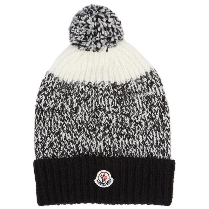 78423519936 Moncler Panelled Pompom Knitted Beanie in Black - Lyst