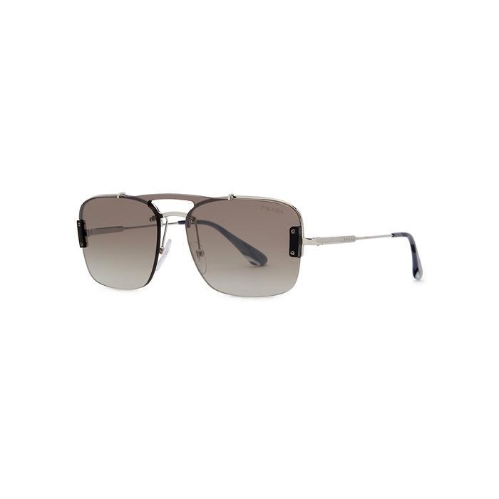 911af9d2f Prada. Men's Metallic Silver-tone Aviator-style Sunglasses. £237 From Harvey  Nichols