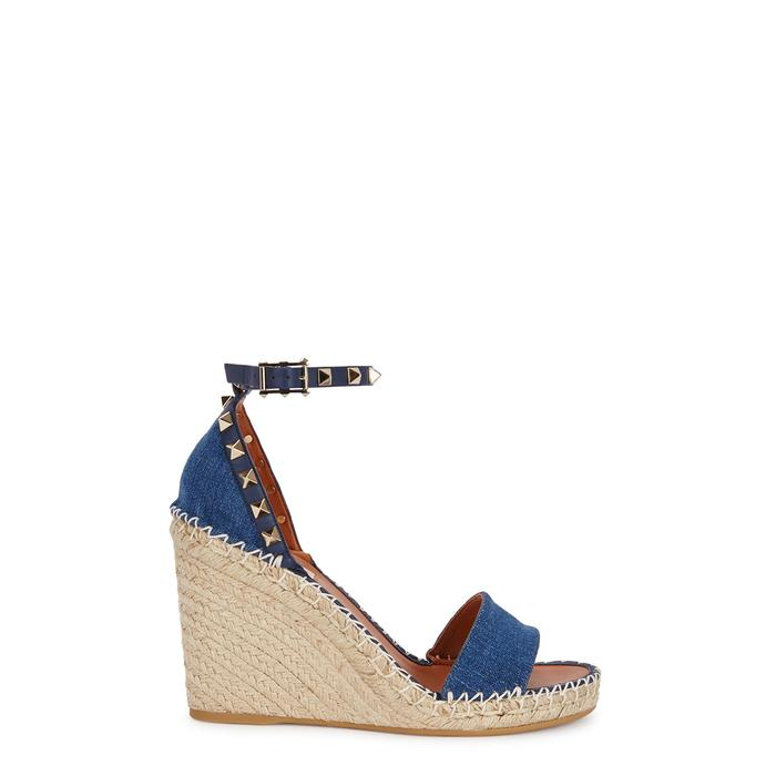 5006cf10c8c Valentino Rockstud 100 Denim Espadrille Sandals in Blue - Lyst
