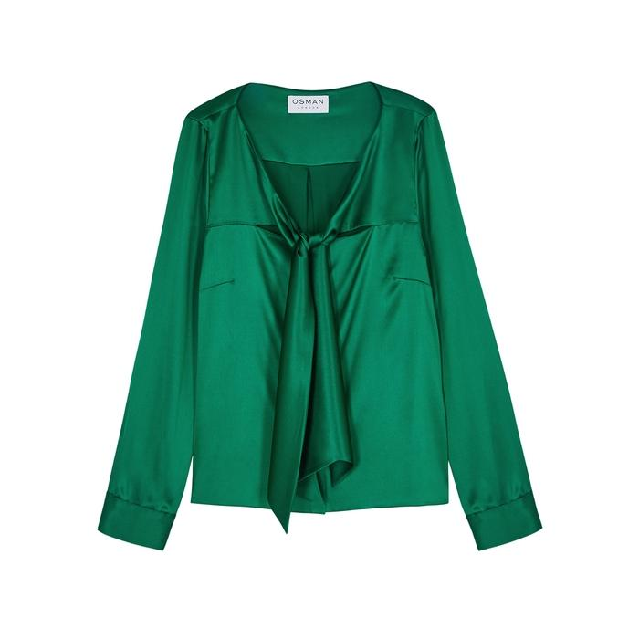 8464958585c811 OSMAN - Green Raiya Emerald Stretch-silk Shirt - Lyst. View fullscreen