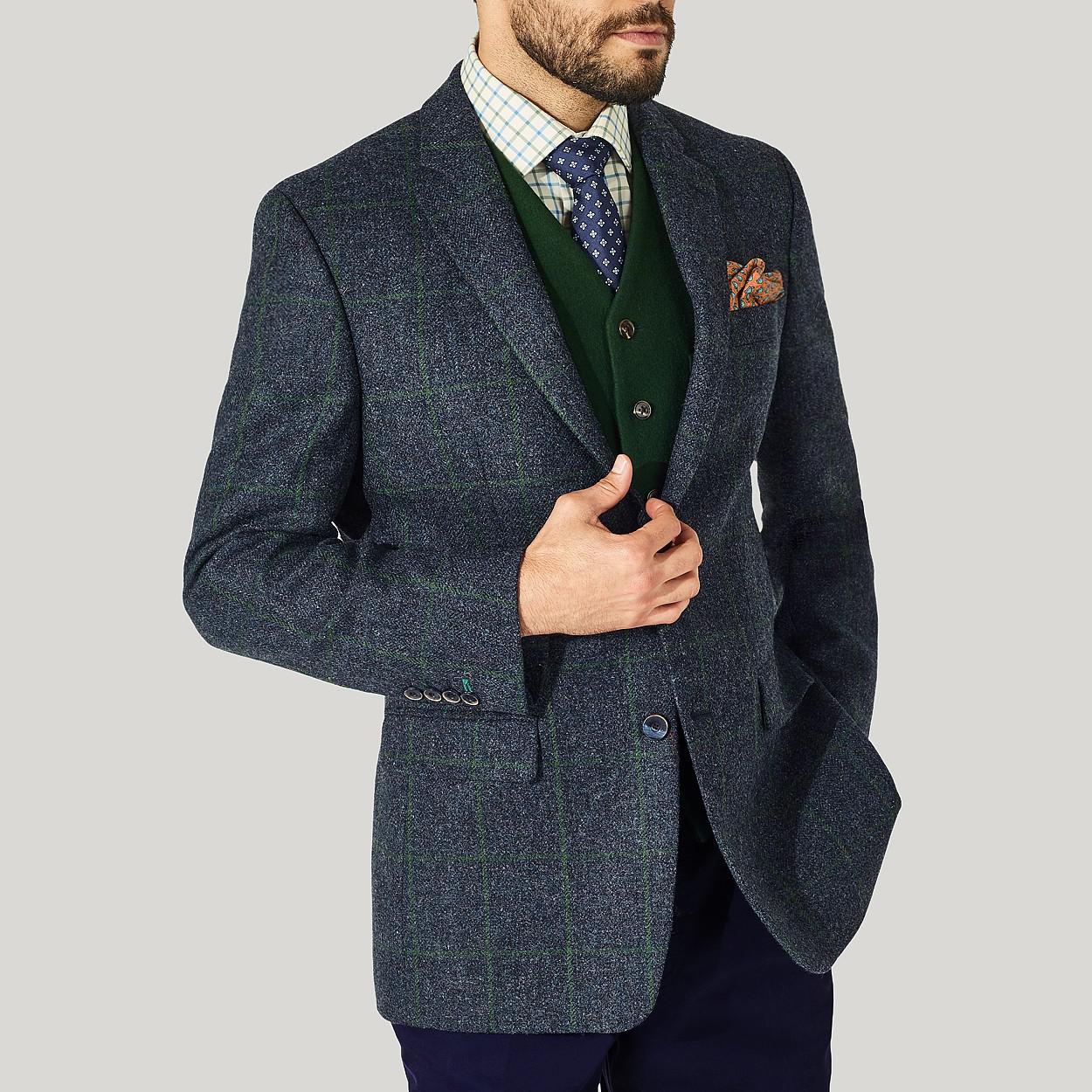 Harvie and hudson Dark Blue And Green Check Lovat Tweed ...
