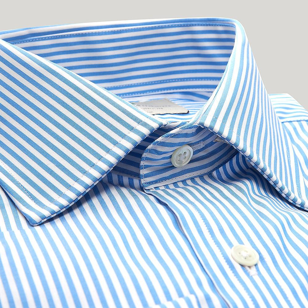 b1837e451b ... Blue Bengal Stripe Poplin Slim Fit Shirt for Men - Lyst. View fullscreen