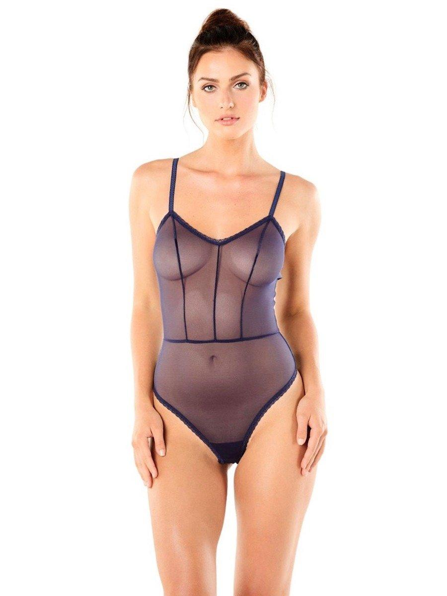 cf95d4896ad Lyst - Cosabella Mesh Temptation Sheer Bodysuit in Blue