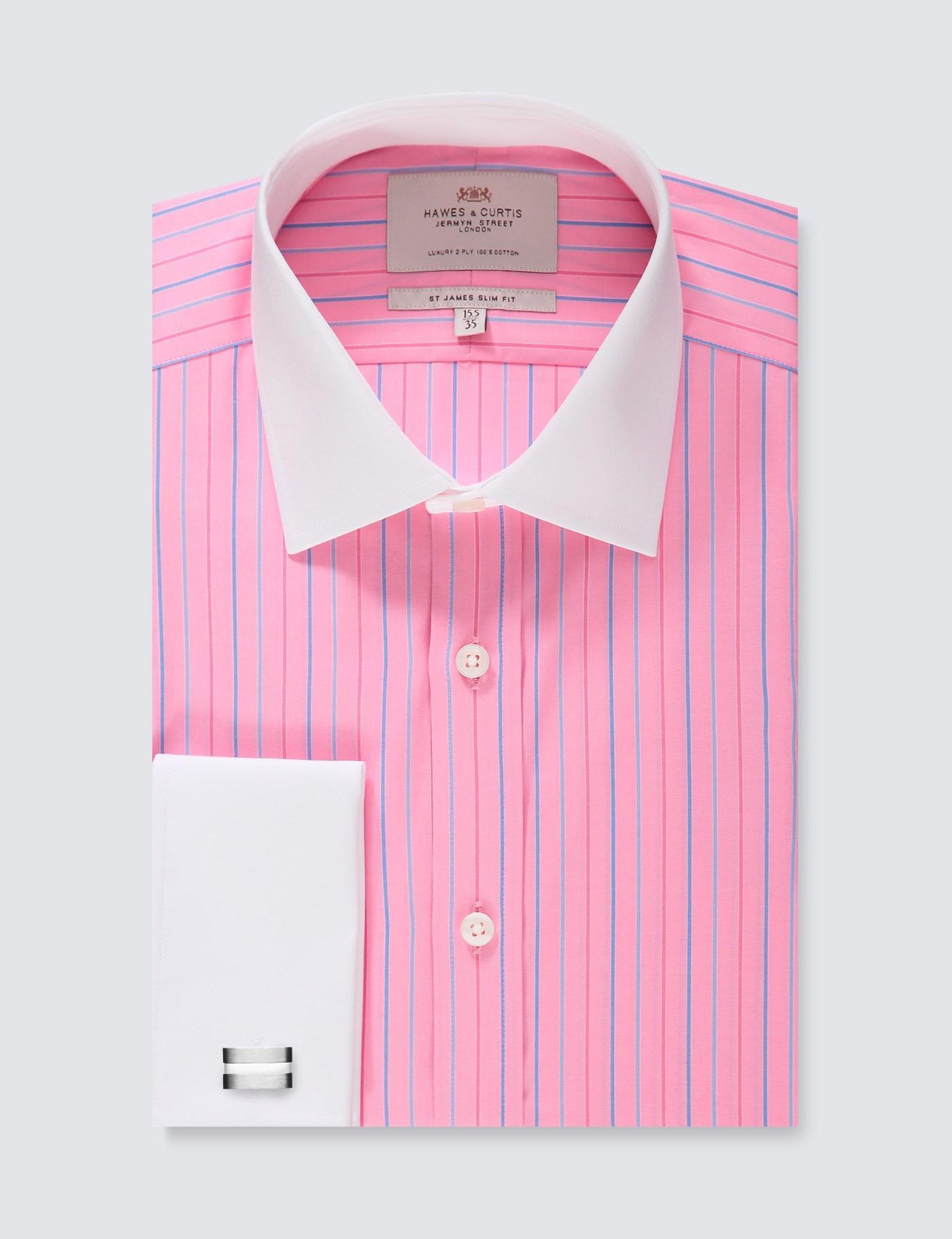 410a504c64 Lyst - Hawes & Curtis Pink & Blue Stripe Slim Fit Dress Shirt in Pink for  Men